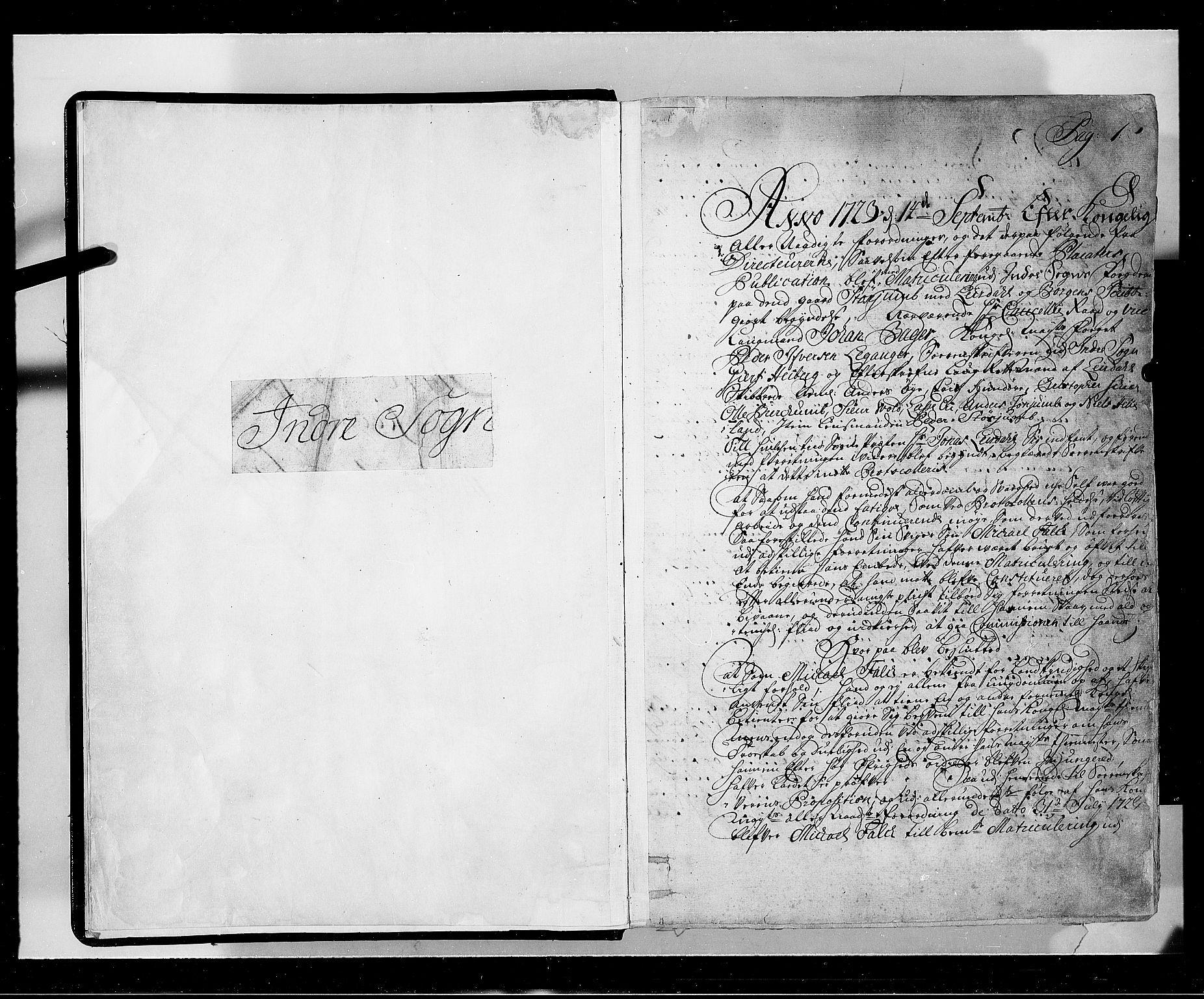 RA, Rentekammeret inntil 1814, Realistisk ordnet avdeling, N/Nb/Nbf/L0143: Ytre og Indre Sogn eksaminasjonsprotokoll, 1723, s. 1