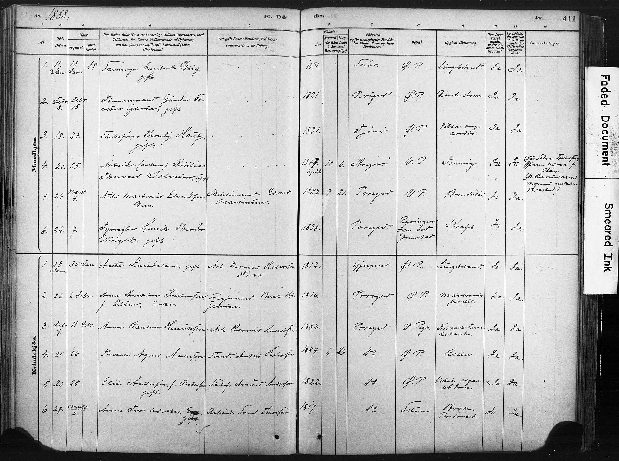 SAKO, Porsgrunn kirkebøker , F/Fa/L0008: Ministerialbok nr. 8, 1878-1895, s. 411