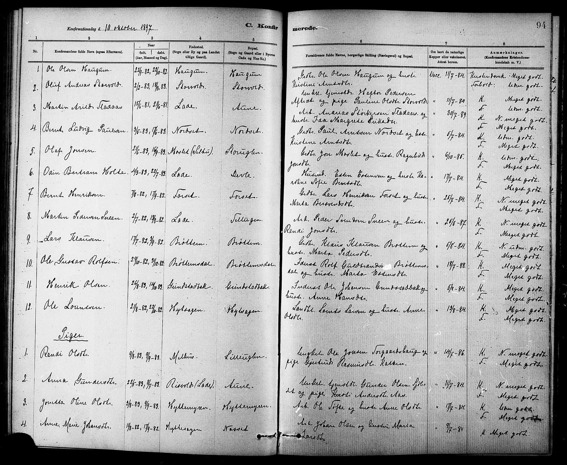SAT, Ministerialprotokoller, klokkerbøker og fødselsregistre - Sør-Trøndelag, 618/L0452: Klokkerbok nr. 618C03, 1884-1906, s. 94