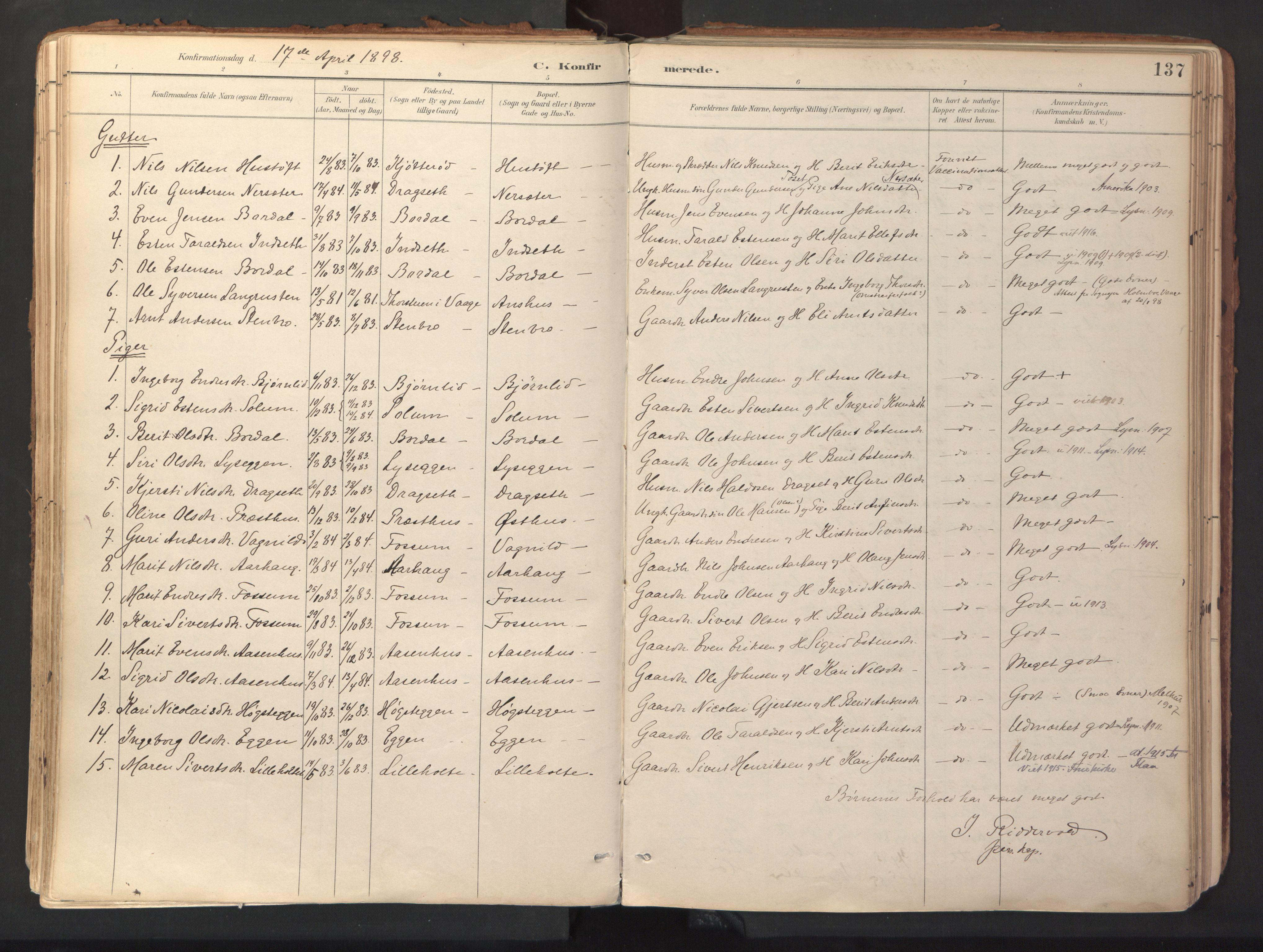 SAT, Ministerialprotokoller, klokkerbøker og fødselsregistre - Sør-Trøndelag, 689/L1041: Ministerialbok nr. 689A06, 1891-1923, s. 137