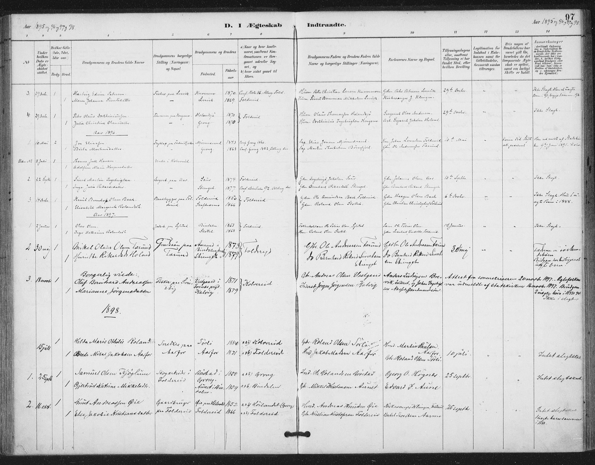 SAT, Ministerialprotokoller, klokkerbøker og fødselsregistre - Nord-Trøndelag, 783/L0660: Ministerialbok nr. 783A02, 1886-1918, s. 97
