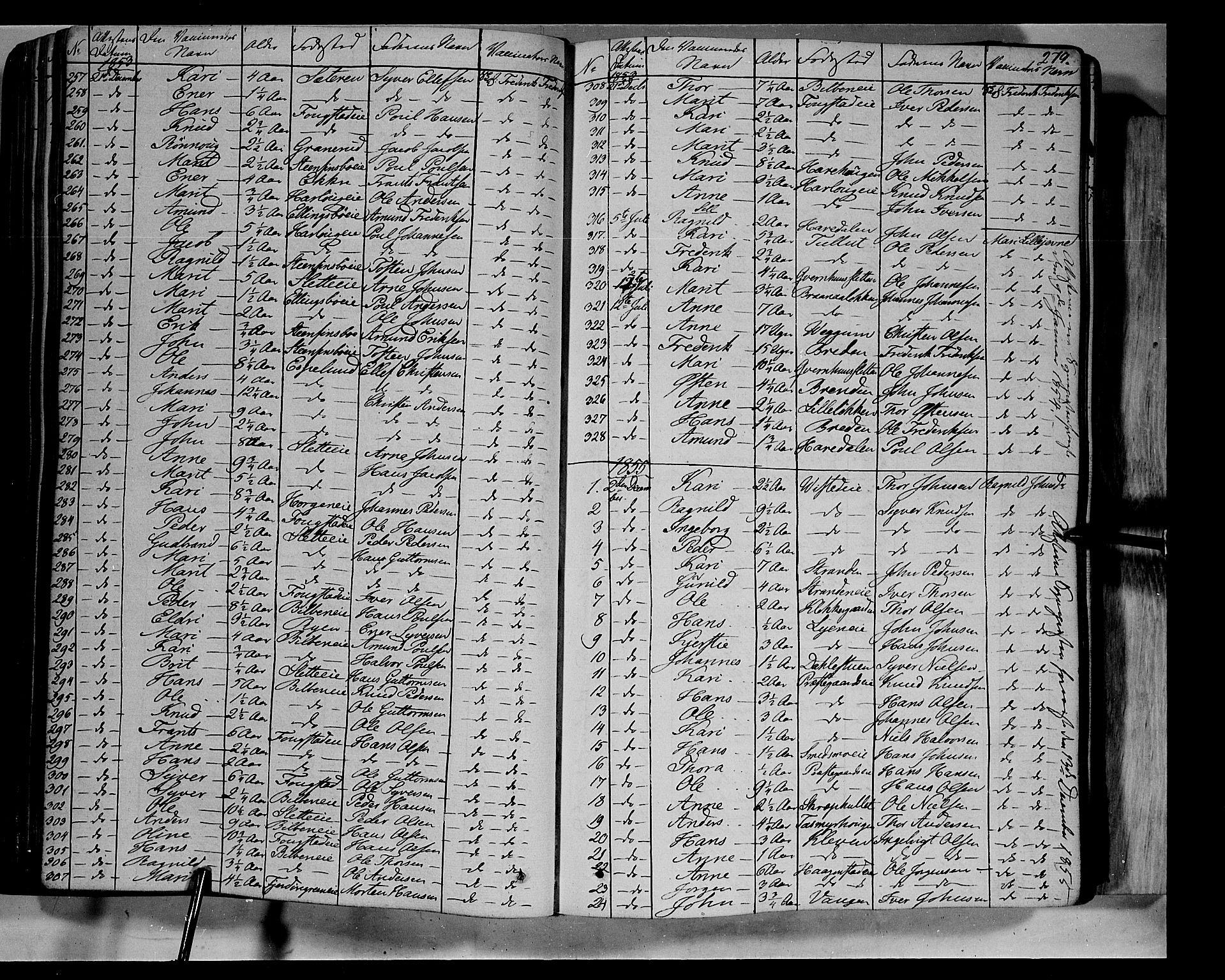 SAH, Vågå prestekontor, Ministerialbok nr. 5 /1, 1842-1856, s. 279