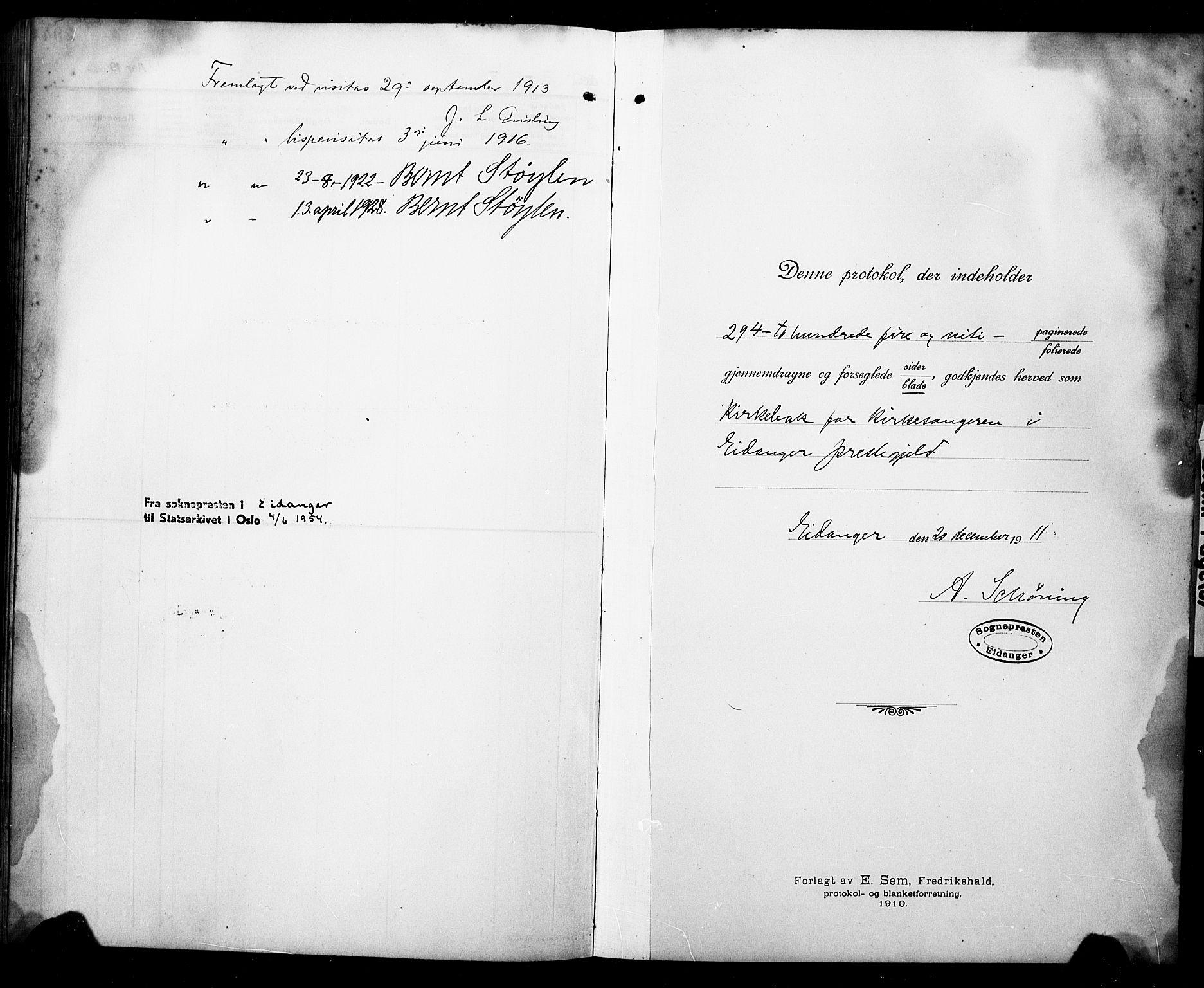 SAKO, Eidanger kirkebøker, G/Ga/L0004: Klokkerbok nr. 4, 1912-1927