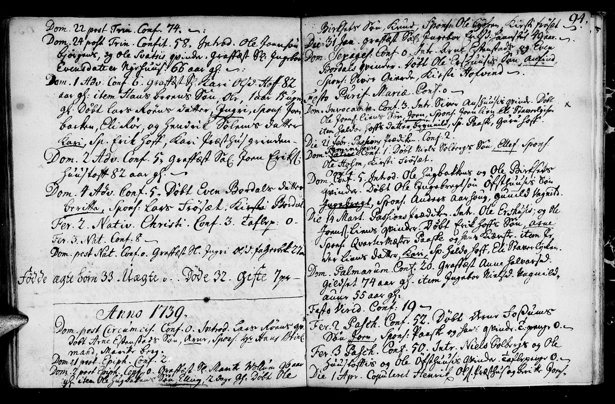 SAT, Ministerialprotokoller, klokkerbøker og fødselsregistre - Sør-Trøndelag, 689/L1036: Ministerialbok nr. 689A01, 1696-1746, s. 94