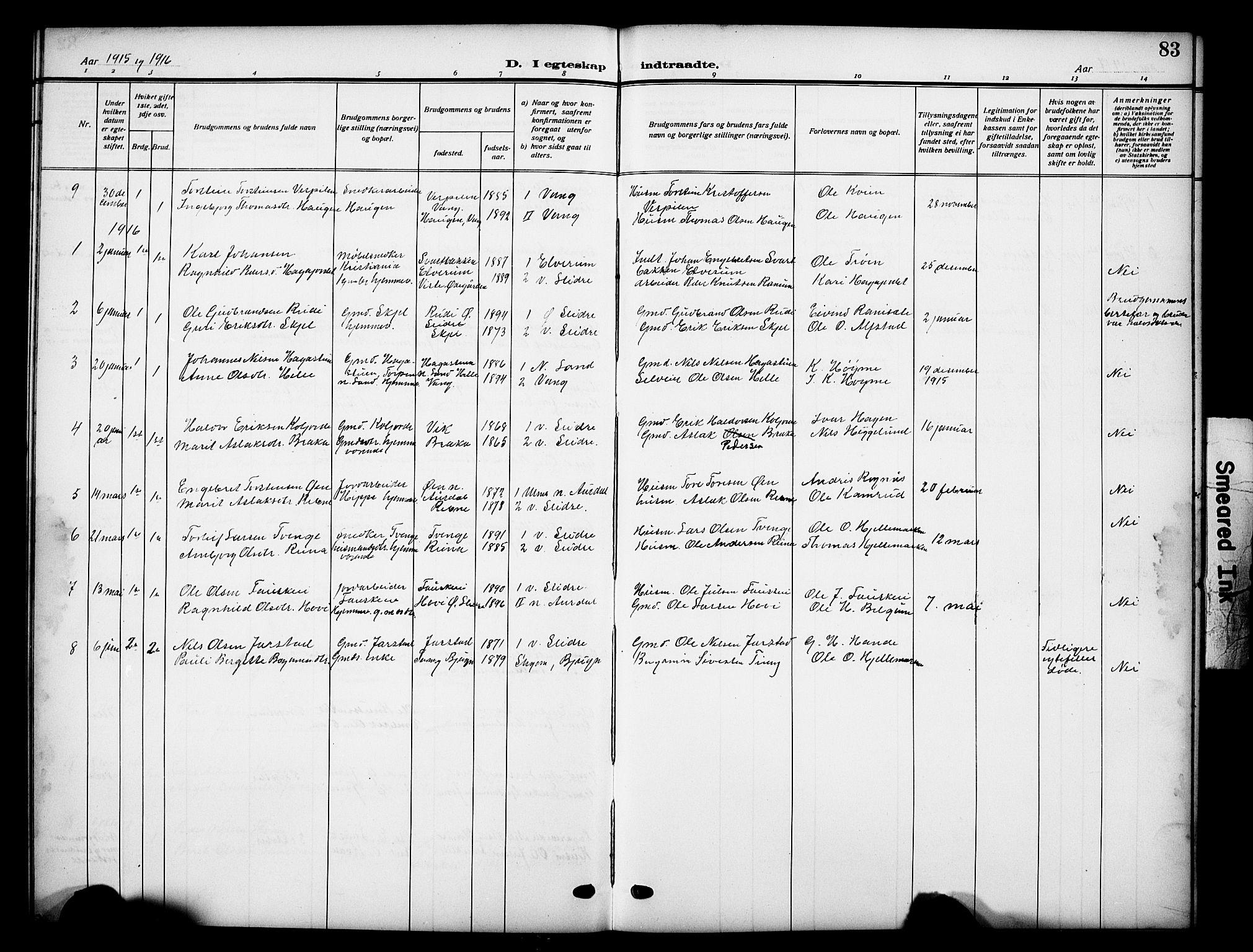 SAH, Vestre Slidre prestekontor, Klokkerbok nr. 7, 1909-1930, s. 83