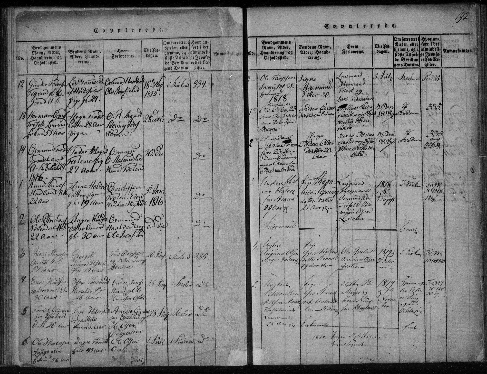 SAKO, Lårdal kirkebøker, F/Fa/L0005: Ministerialbok nr. I 5, 1815-1860, s. 192