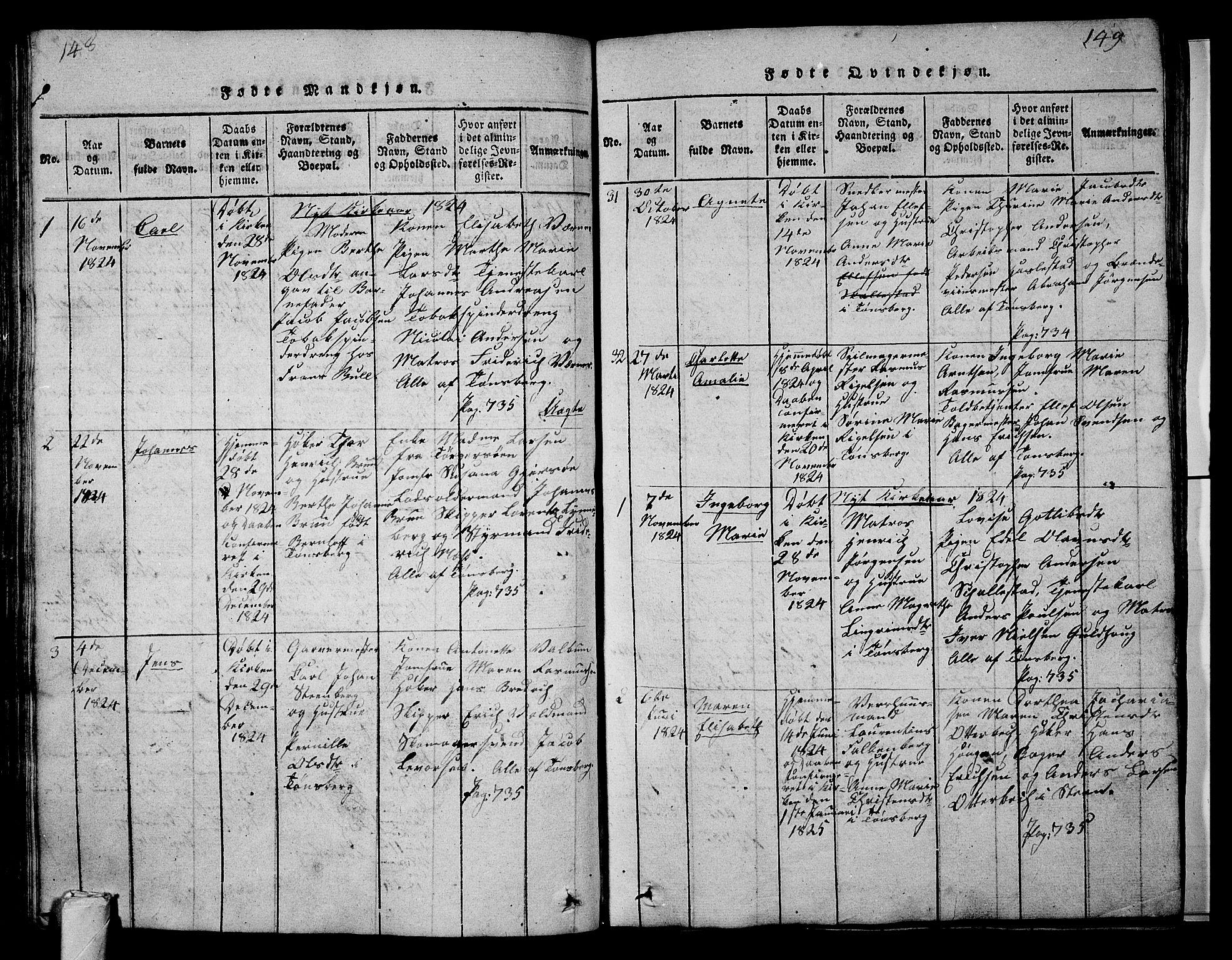 SAKO, Tønsberg kirkebøker, G/Ga/L0001: Klokkerbok nr. 1, 1813-1826, s. 148-149