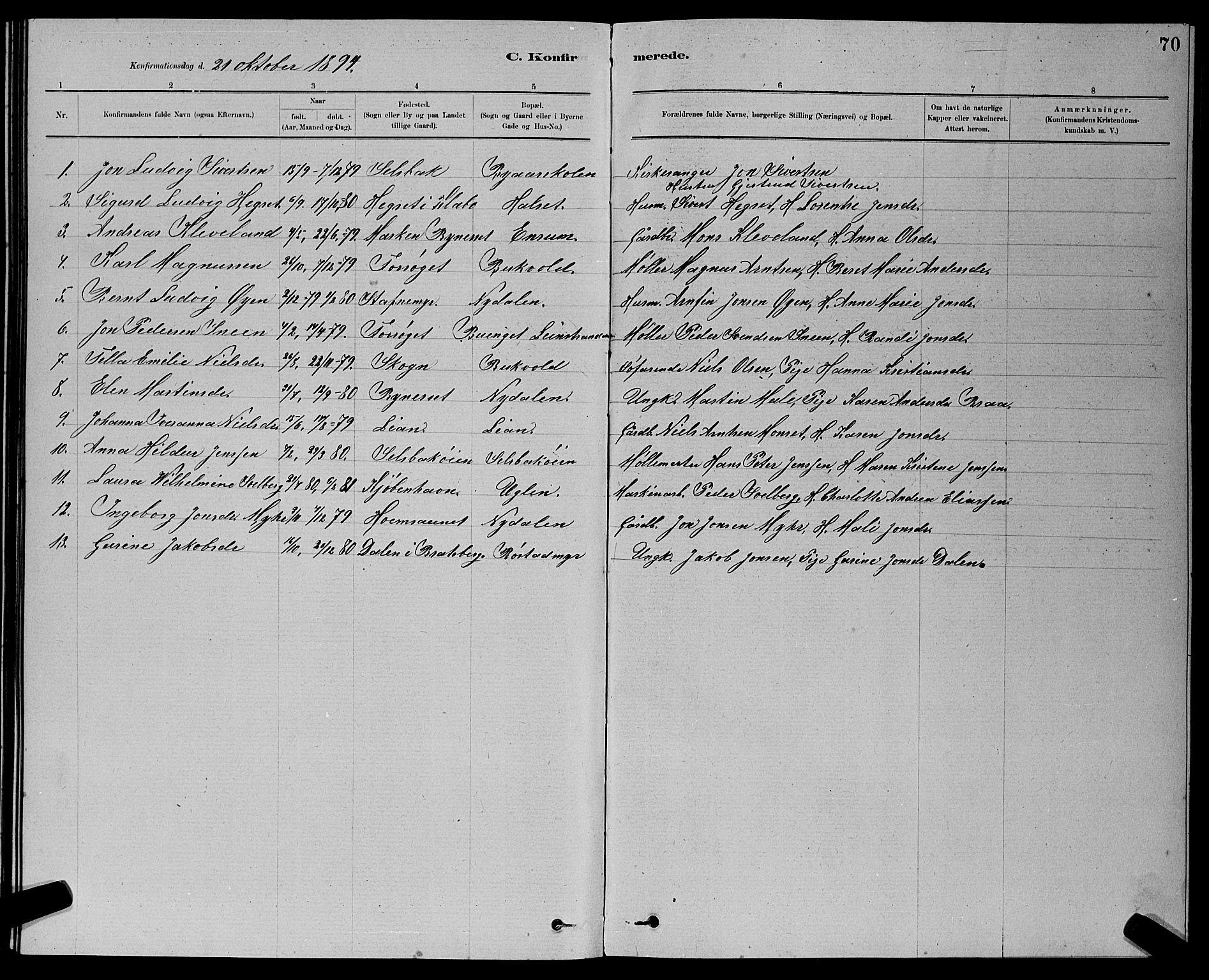 SAT, Ministerialprotokoller, klokkerbøker og fødselsregistre - Sør-Trøndelag, 611/L0354: Klokkerbok nr. 611C02, 1881-1896, s. 70