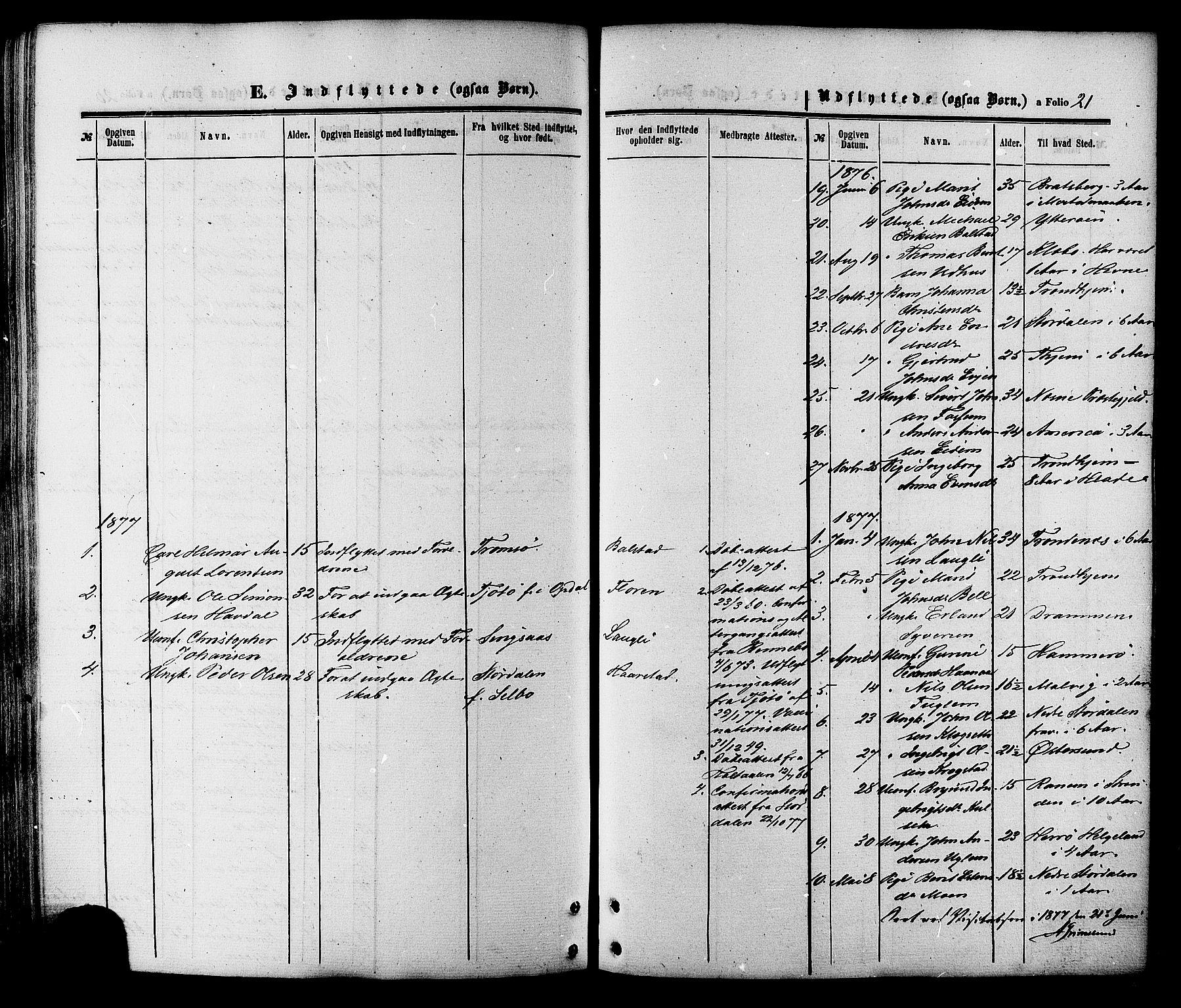 SAT, Ministerialprotokoller, klokkerbøker og fødselsregistre - Sør-Trøndelag, 695/L1147: Ministerialbok nr. 695A07, 1860-1877, s. 21