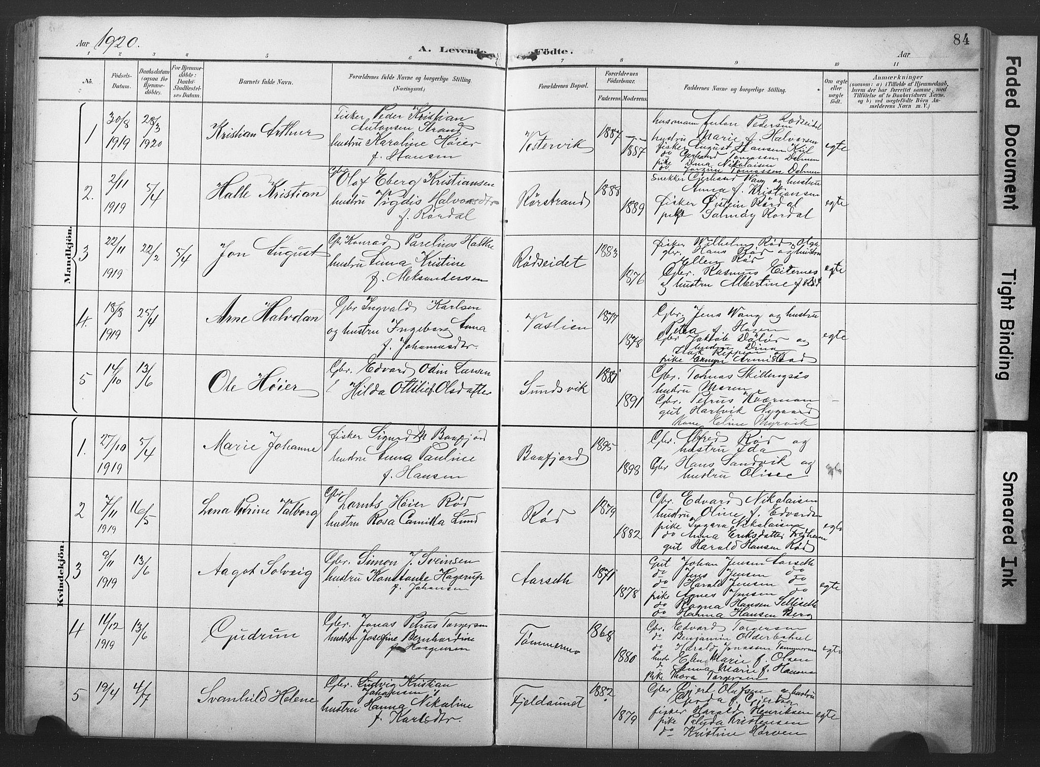 SAT, Ministerialprotokoller, klokkerbøker og fødselsregistre - Nord-Trøndelag, 789/L0706: Klokkerbok nr. 789C01, 1888-1931, s. 84