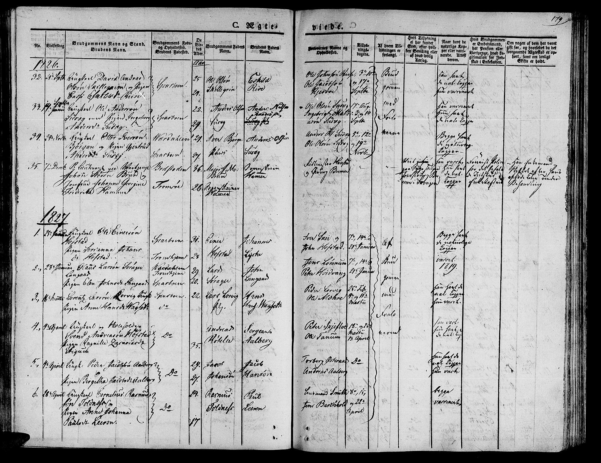 SAT, Ministerialprotokoller, klokkerbøker og fødselsregistre - Nord-Trøndelag, 735/L0336: Ministerialbok nr. 735A05 /1, 1825-1835, s. 179