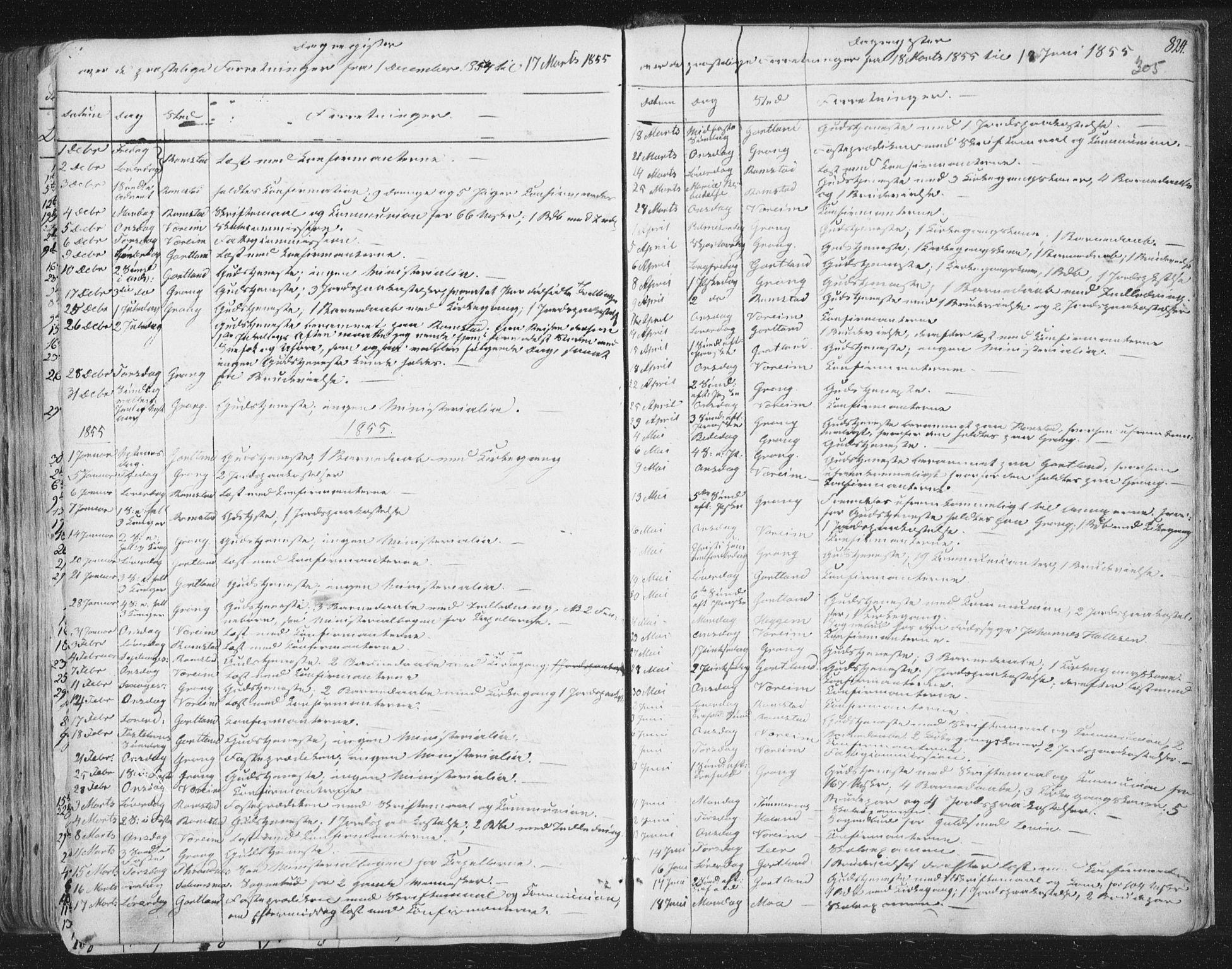 SAT, Ministerialprotokoller, klokkerbøker og fødselsregistre - Nord-Trøndelag, 758/L0513: Ministerialbok nr. 758A02 /1, 1839-1868, s. 305