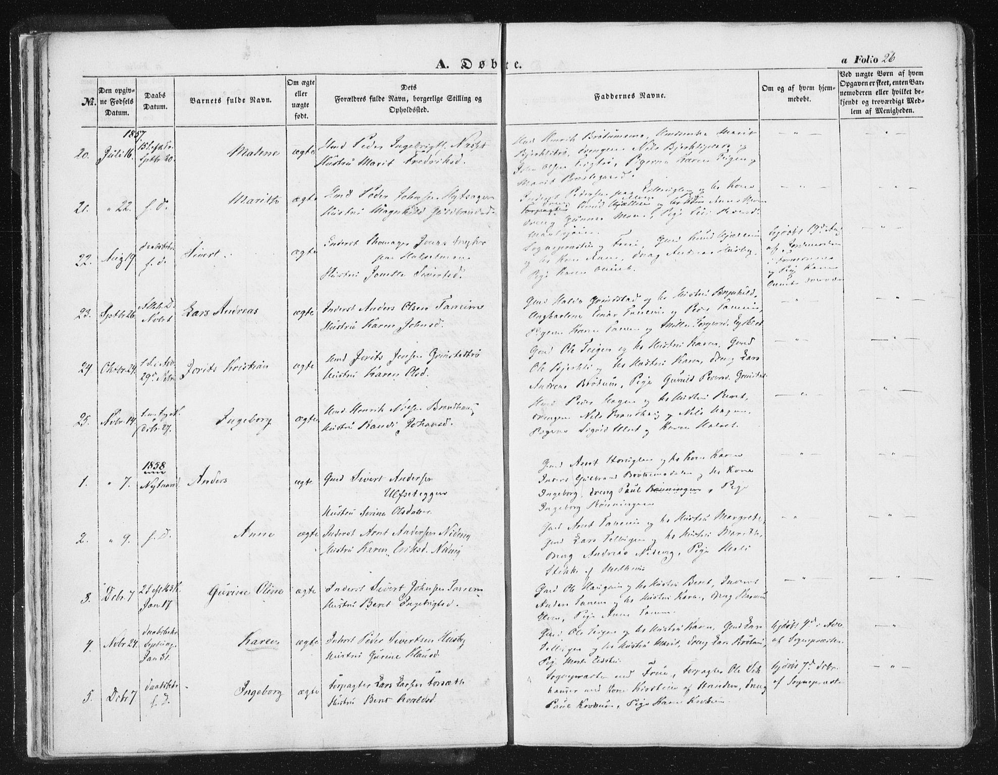 SAT, Ministerialprotokoller, klokkerbøker og fødselsregistre - Sør-Trøndelag, 618/L0441: Ministerialbok nr. 618A05, 1843-1862, s. 26