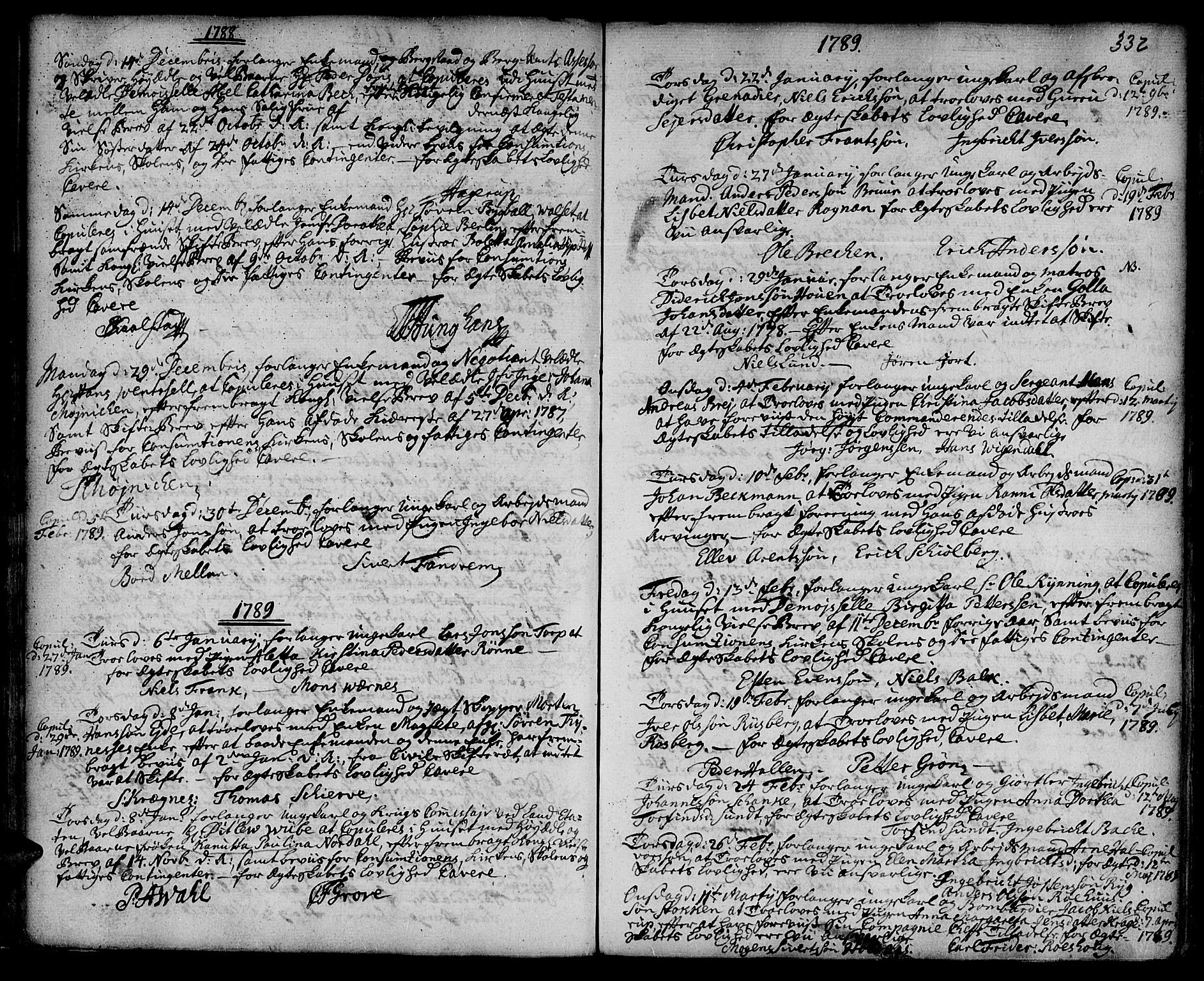 SAT, Ministerialprotokoller, klokkerbøker og fødselsregistre - Sør-Trøndelag, 601/L0038: Ministerialbok nr. 601A06, 1766-1877, s. 332