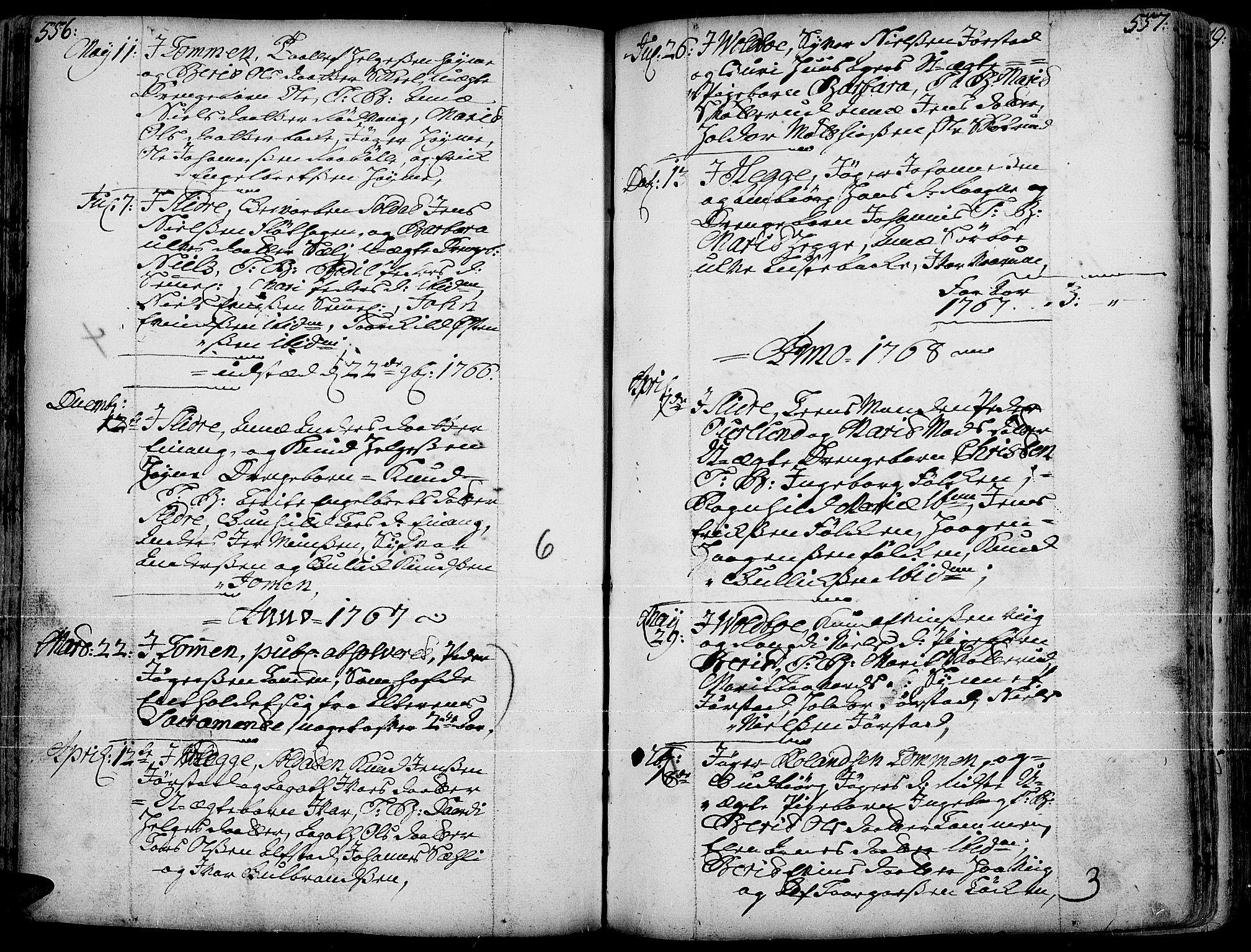 SAH, Slidre prestekontor, Ministerialbok nr. 1, 1724-1814, s. 556-557
