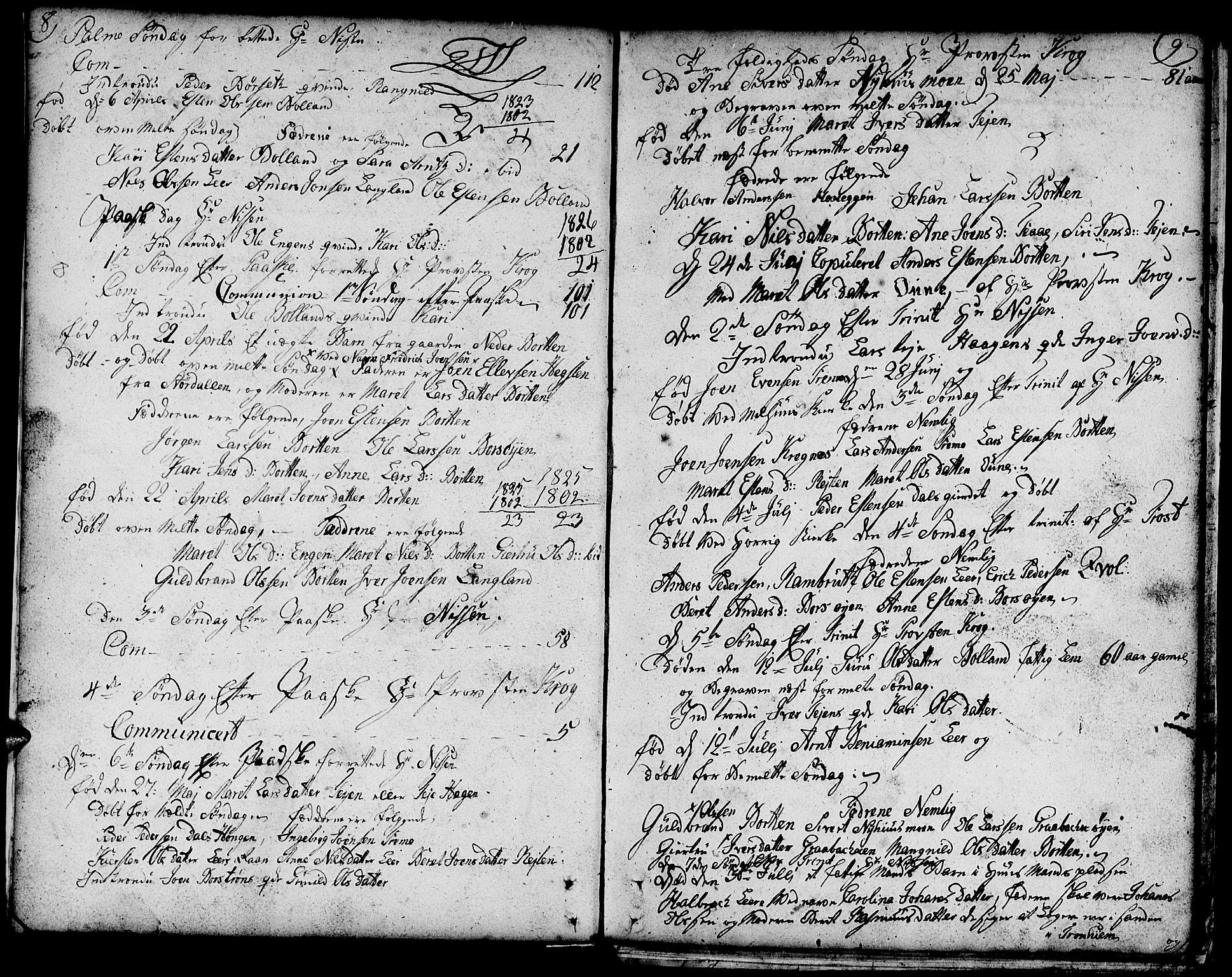 SAT, Ministerialprotokoller, klokkerbøker og fødselsregistre - Sør-Trøndelag, 693/L1120: Klokkerbok nr. 693C01, 1799-1816, s. 8-9