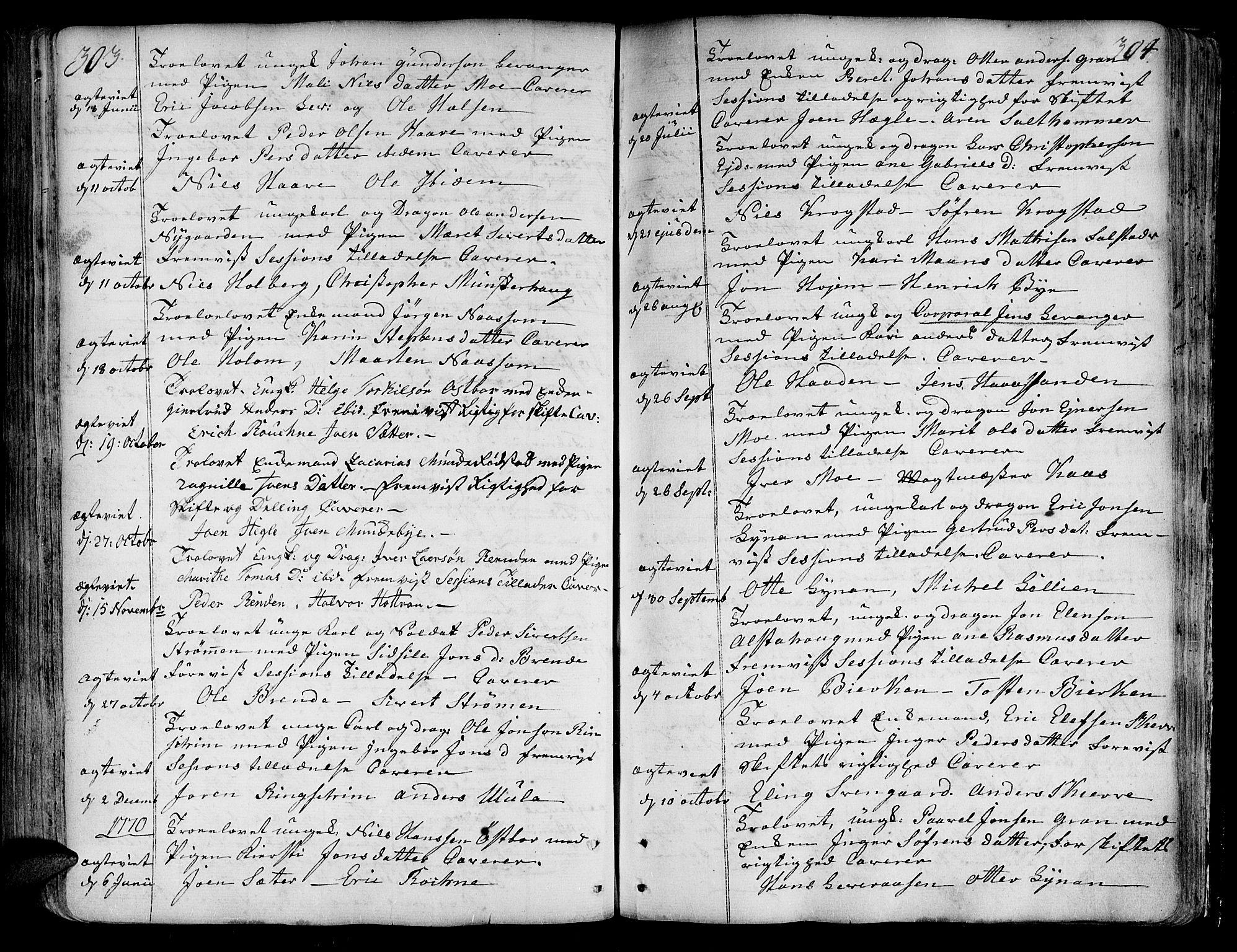 SAT, Ministerialprotokoller, klokkerbøker og fødselsregistre - Nord-Trøndelag, 717/L0141: Ministerialbok nr. 717A01, 1747-1803, s. 303-304