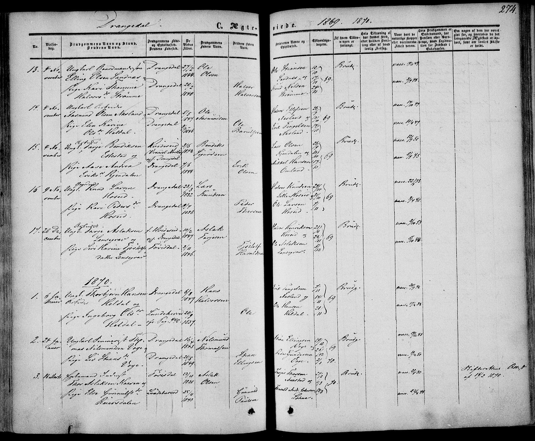 SAKO, Drangedal kirkebøker, F/Fa/L0008: Ministerialbok nr. 8, 1857-1871, s. 274