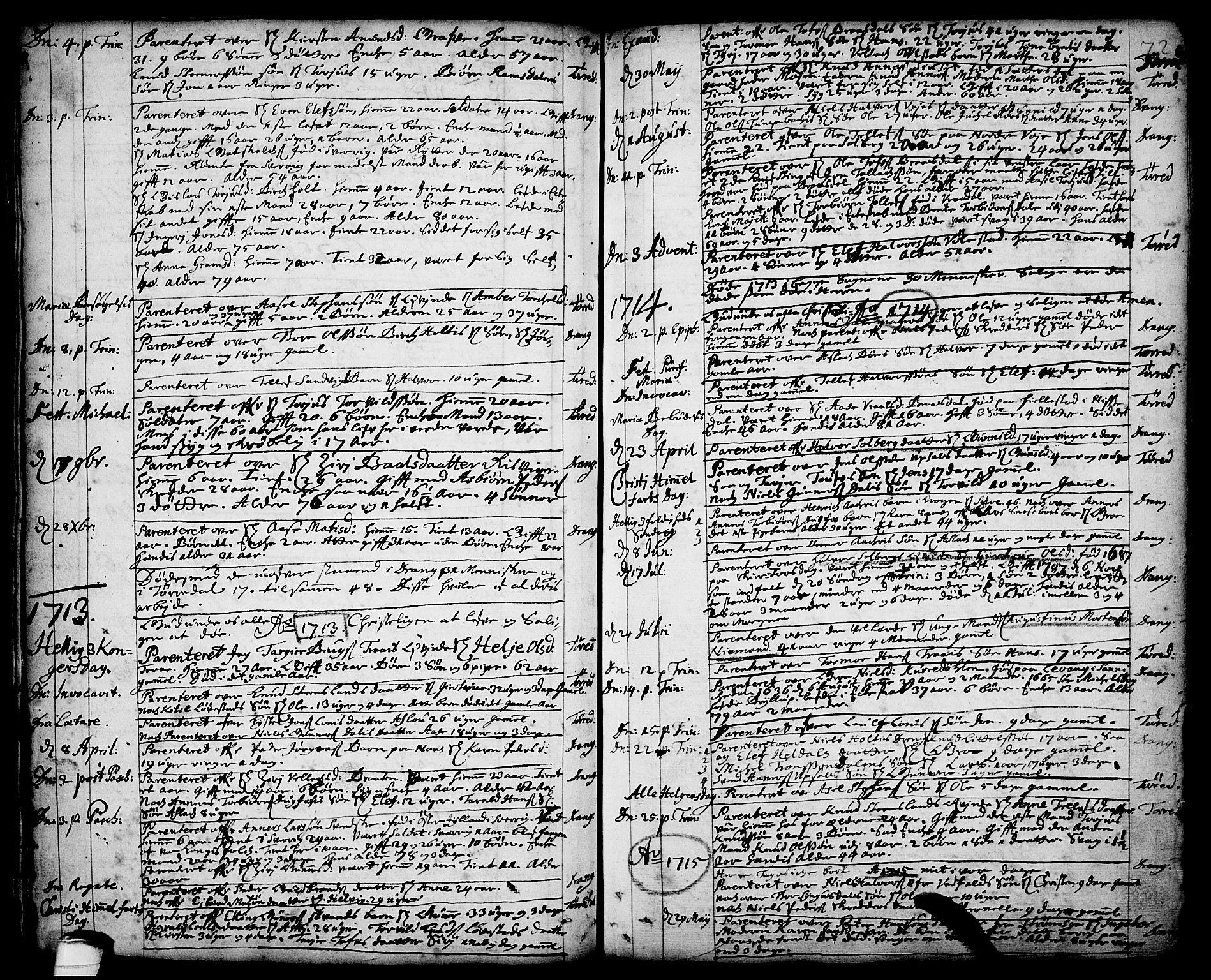 SAKO, Drangedal kirkebøker, F/Fa/L0001: Ministerialbok nr. 1, 1697-1767, s. 72