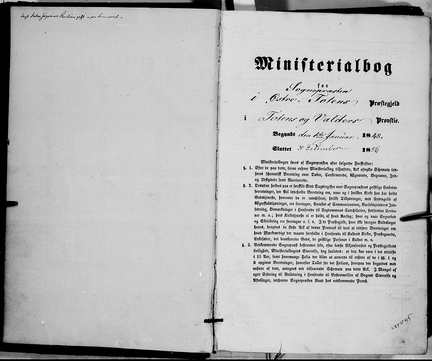 SAH, Østre Toten prestekontor, Ministerialbok nr. 3, 1848-1856