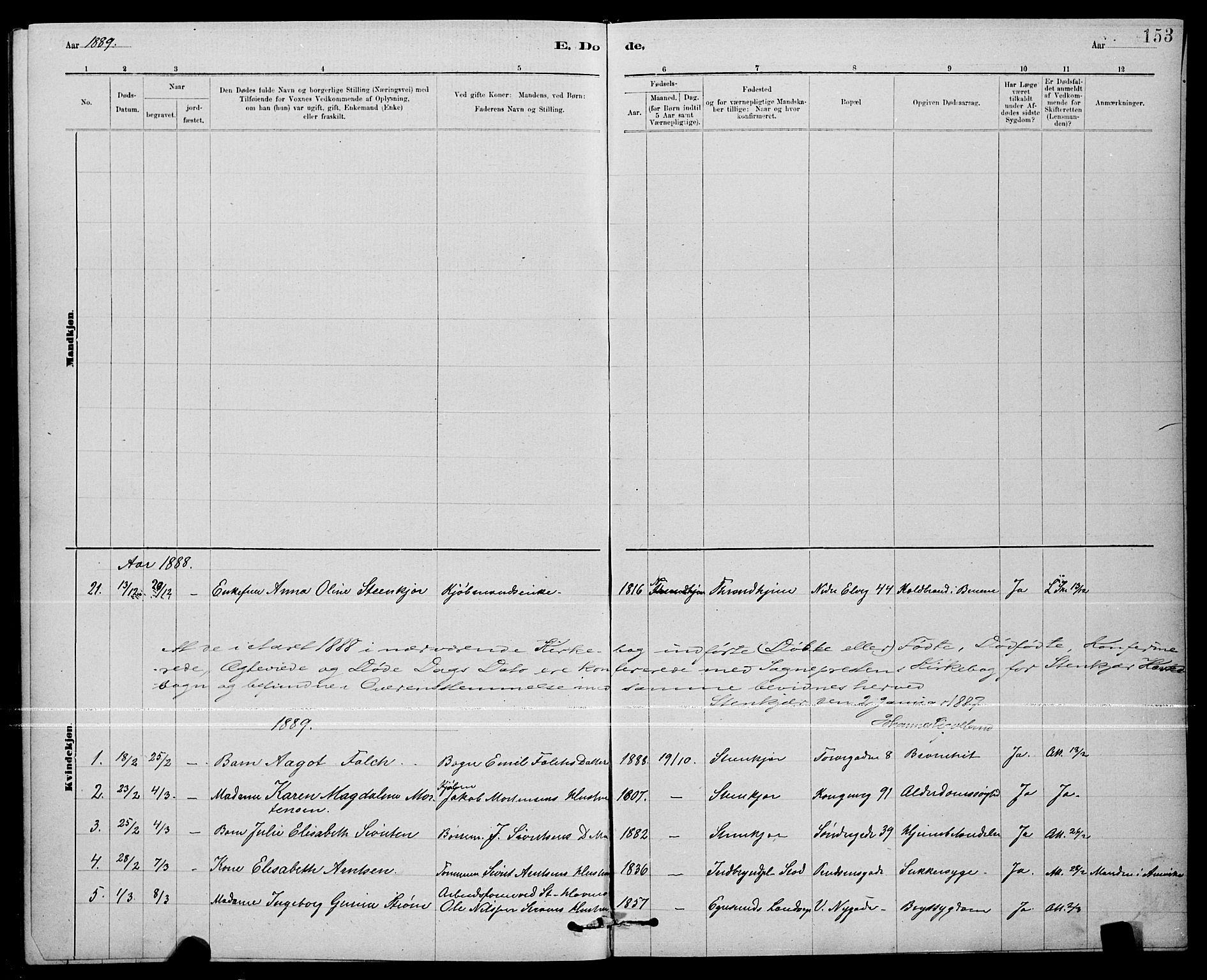 SAT, Ministerialprotokoller, klokkerbøker og fødselsregistre - Nord-Trøndelag, 739/L0374: Klokkerbok nr. 739C02, 1883-1898, s. 153