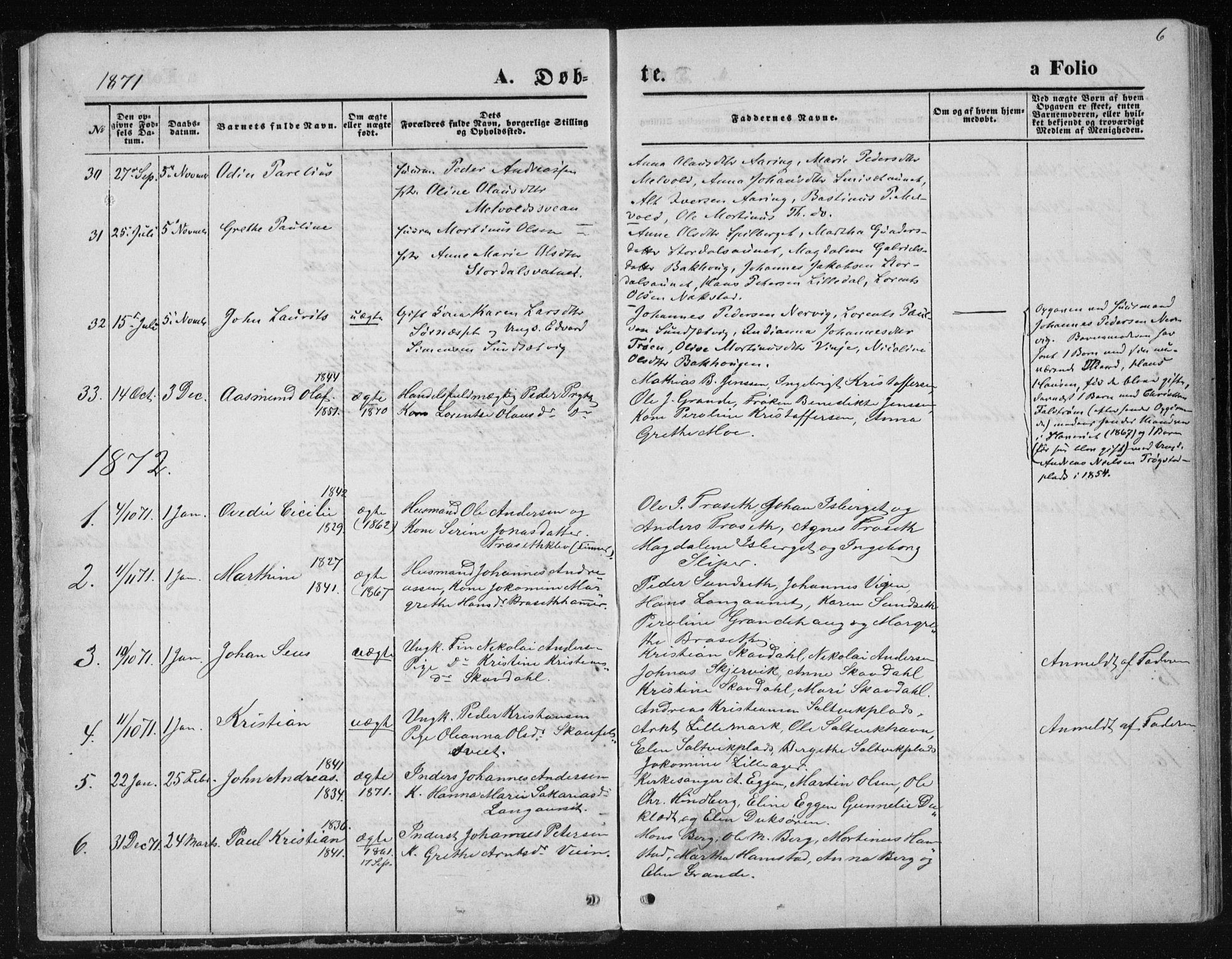 SAT, Ministerialprotokoller, klokkerbøker og fødselsregistre - Nord-Trøndelag, 733/L0324: Ministerialbok nr. 733A03, 1870-1883, s. 6