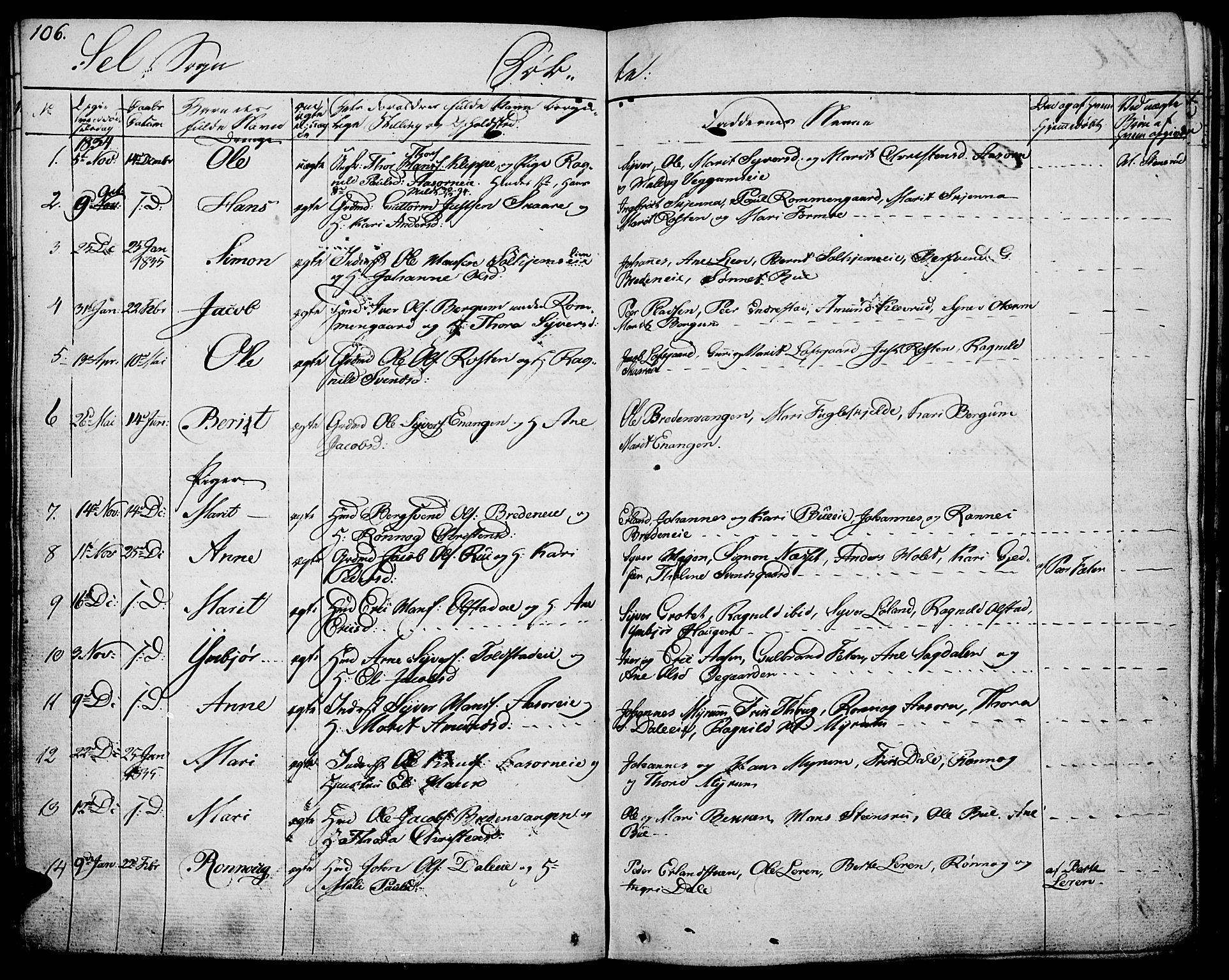 SAH, Vågå prestekontor, Ministerialbok nr. 4 /3, 1834-1842, s. 106