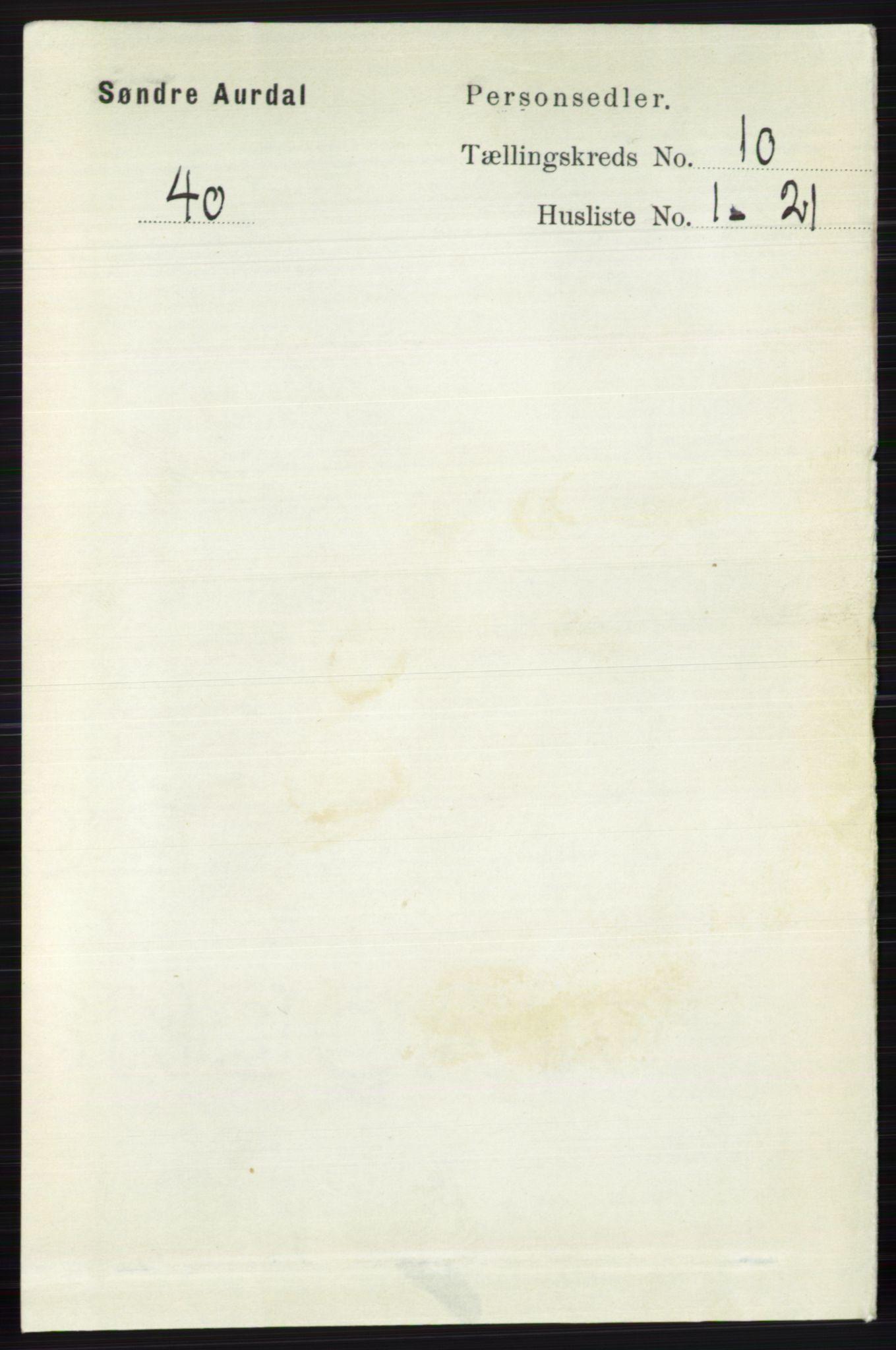 RA, Folketelling 1891 for 0540 Sør-Aurdal herred, 1891, s. 5869