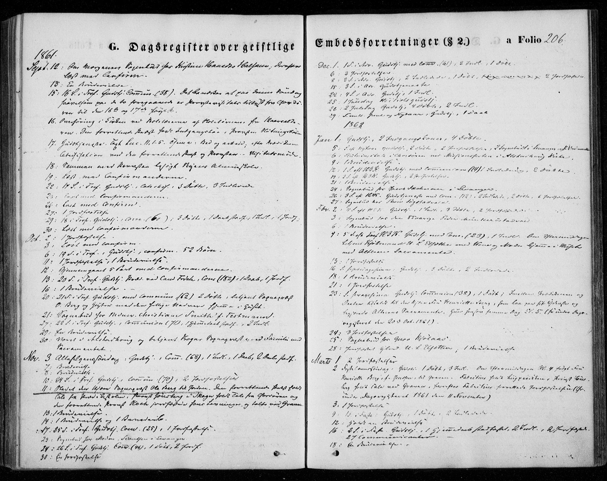 SAT, Ministerialprotokoller, klokkerbøker og fødselsregistre - Nord-Trøndelag, 720/L0184: Ministerialbok nr. 720A02 /1, 1855-1863, s. 206