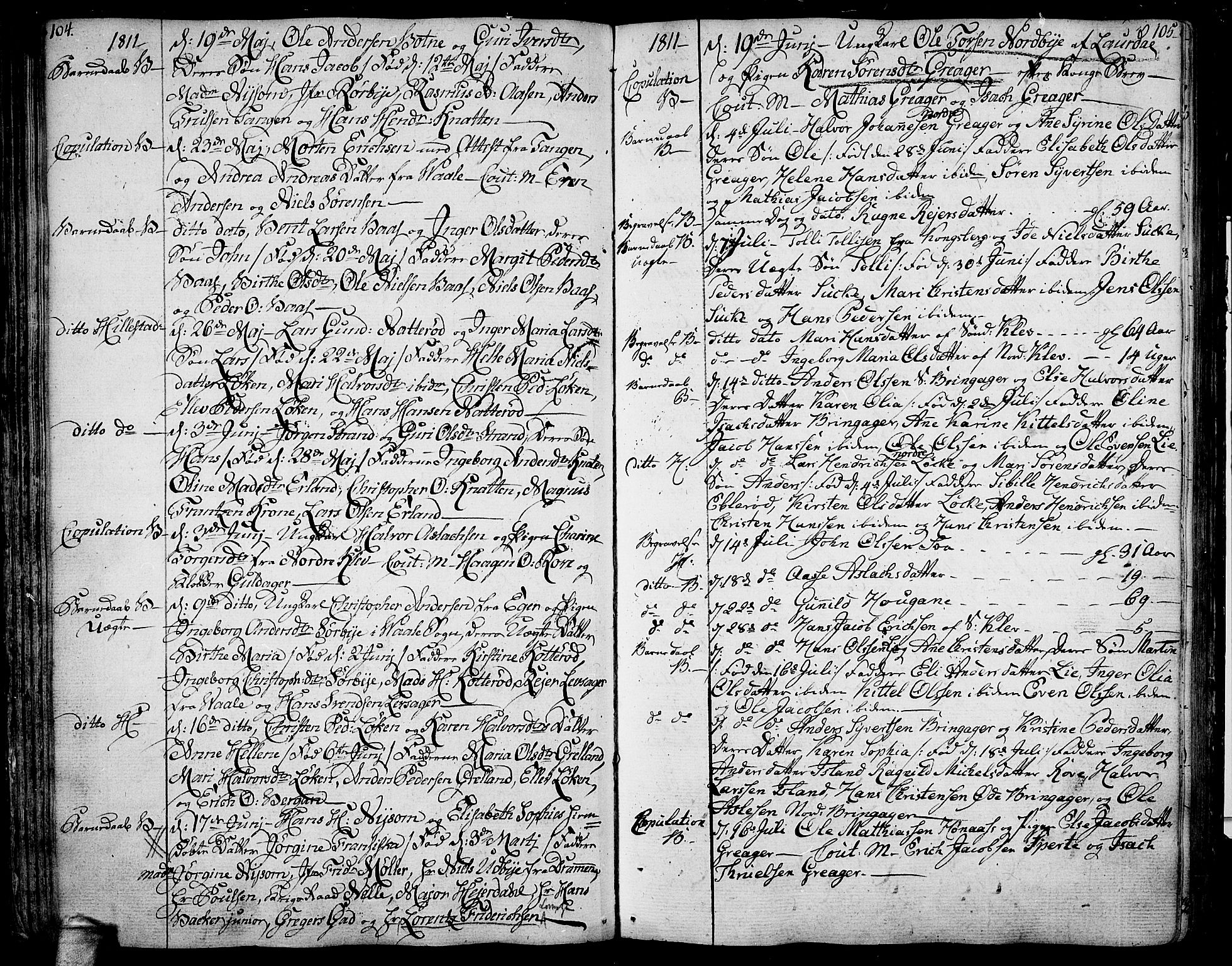 SAKO, Botne kirkebøker, F/Fa/L0003: Ministerialbok nr. I 3 /1, 1792-1844, s. 104-105