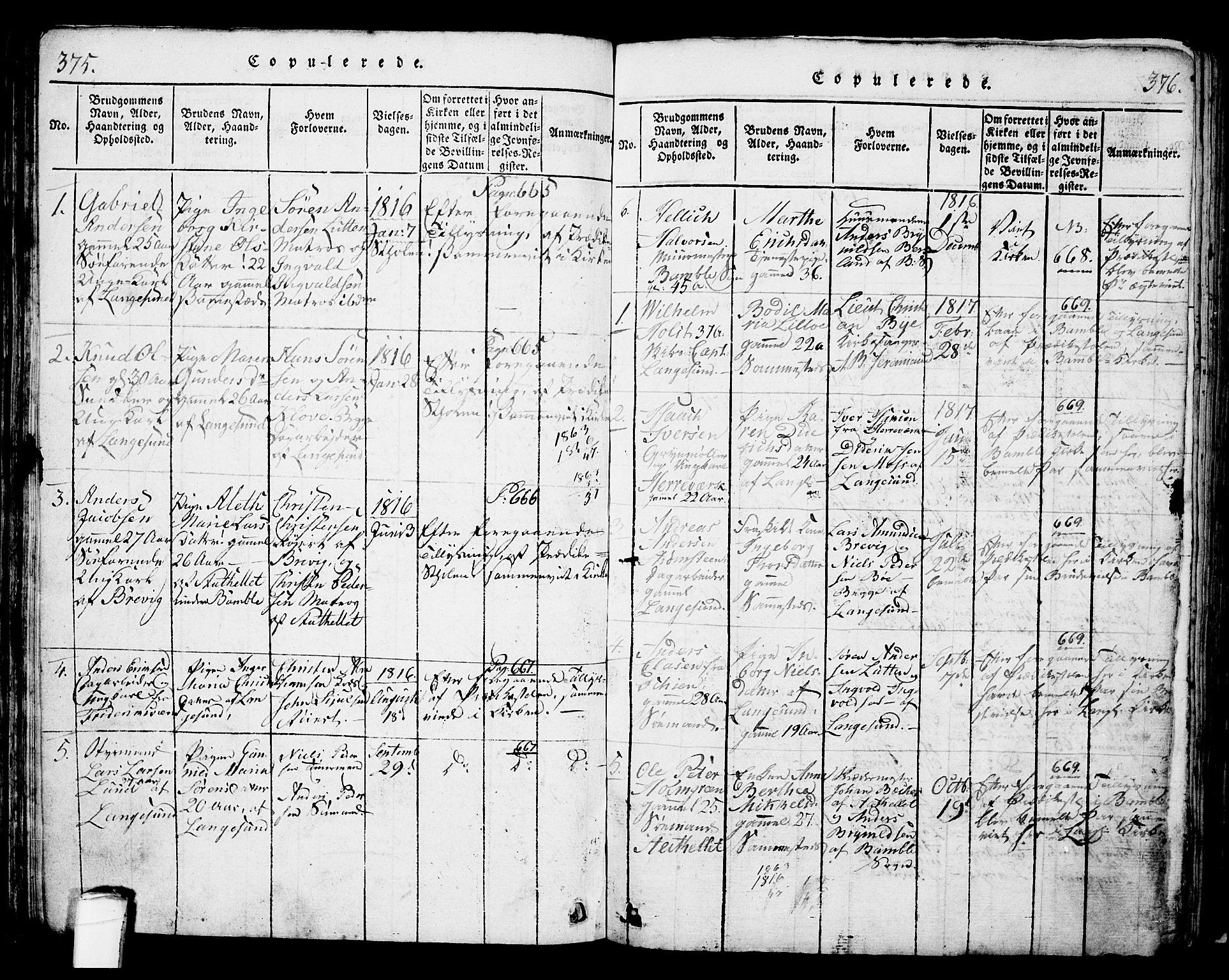 SAKO, Langesund kirkebøker, G/Ga/L0003: Klokkerbok nr. 3, 1815-1858, s. 375-376