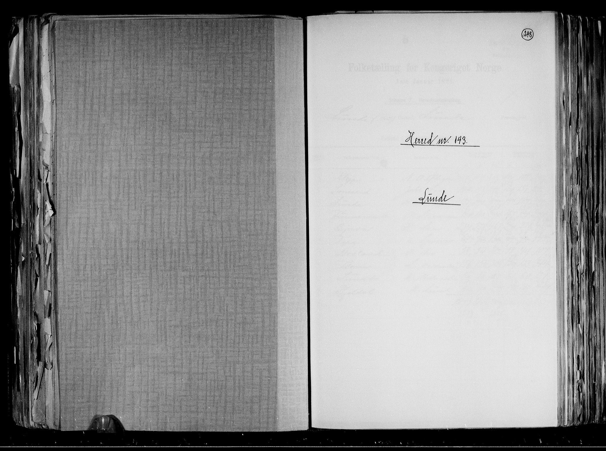 RA, Folketelling 1891 for 0820 Lunde herred, 1891, s. 1