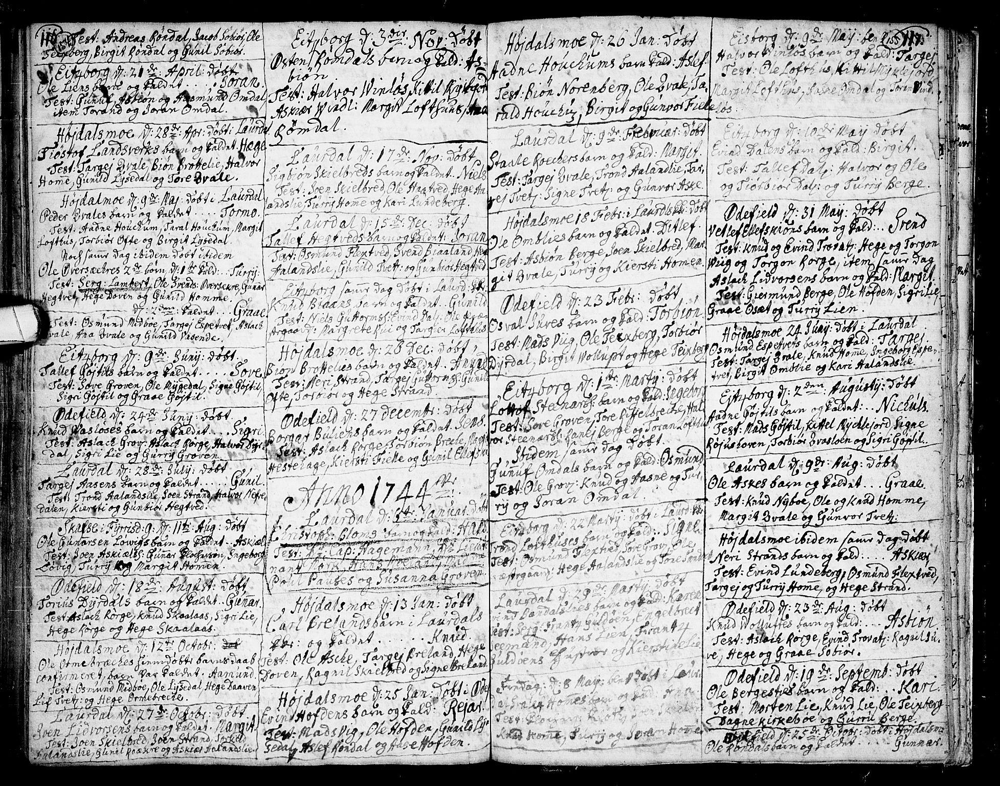SAKO, Lårdal kirkebøker, F/Fa/L0002: Ministerialbok nr. I 2, 1734-1754, s. 154-155