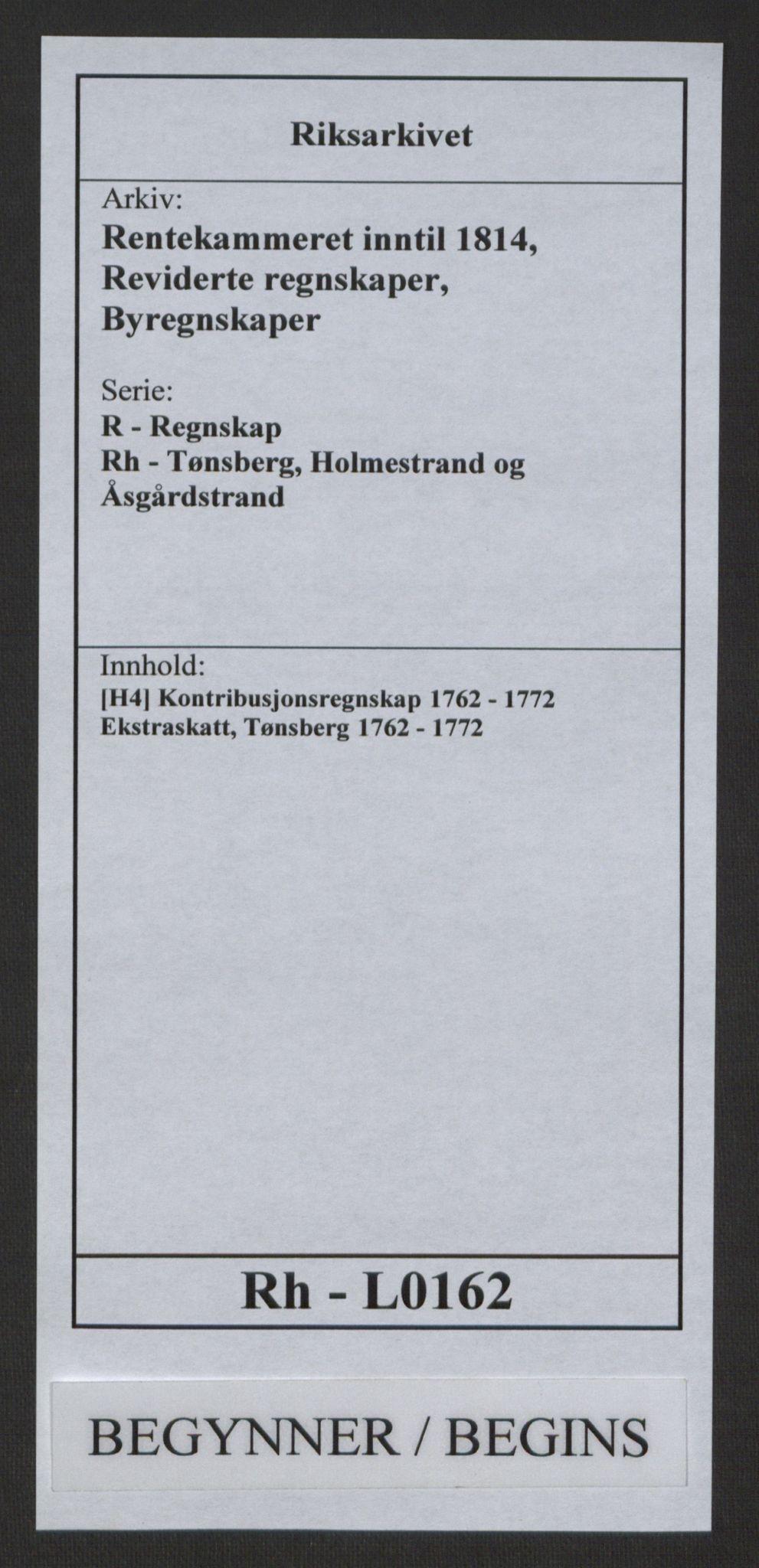 RA, Rentekammeret inntil 1814, Reviderte regnskaper, Byregnskaper, R/Rh/L0162: [H4] Kontribusjonsregnskap, 1762-1772, s. 1