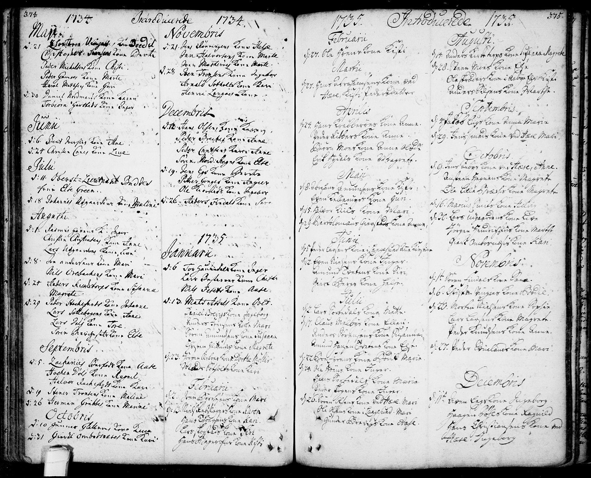 SAKO, Bamble kirkebøker, F/Fa/L0001: Ministerialbok nr. I 1, 1702-1774, s. 374-375