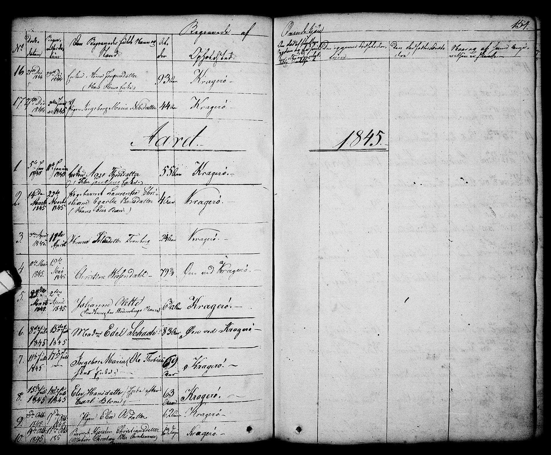 SAKO, Kragerø kirkebøker, G/Ga/L0003: Klokkerbok nr. 3, 1832-1852, s. 154