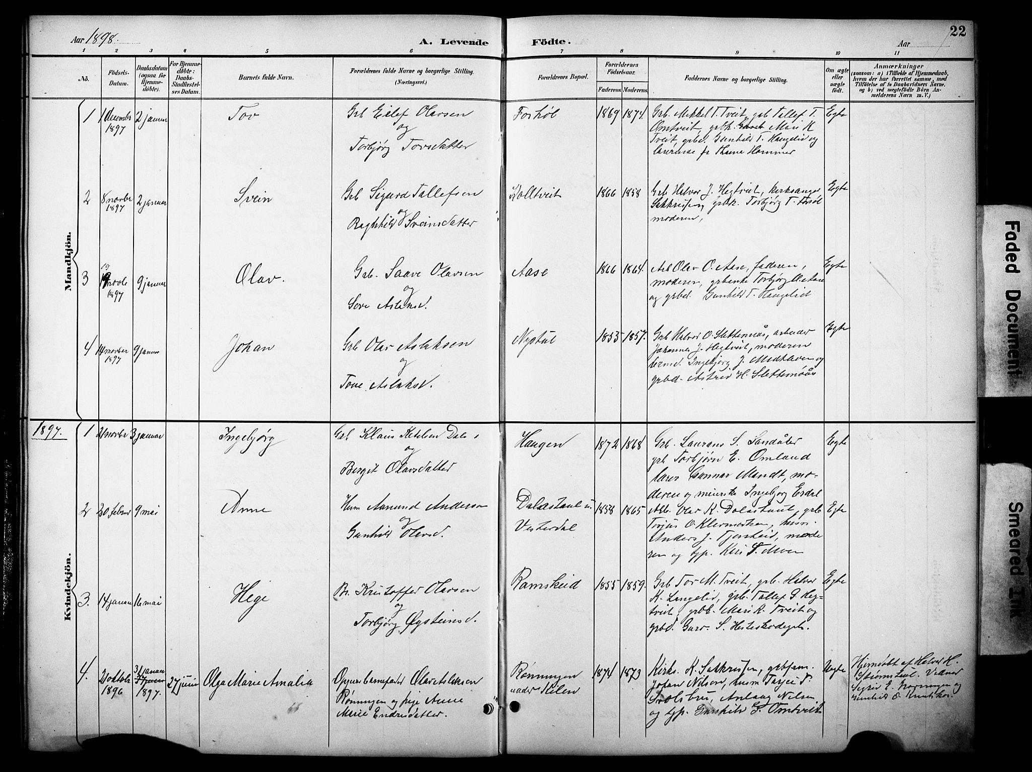 SAKO, Kviteseid kirkebøker, G/Gb/L0003: Klokkerbok nr. II 3, 1893-1933, s. 22