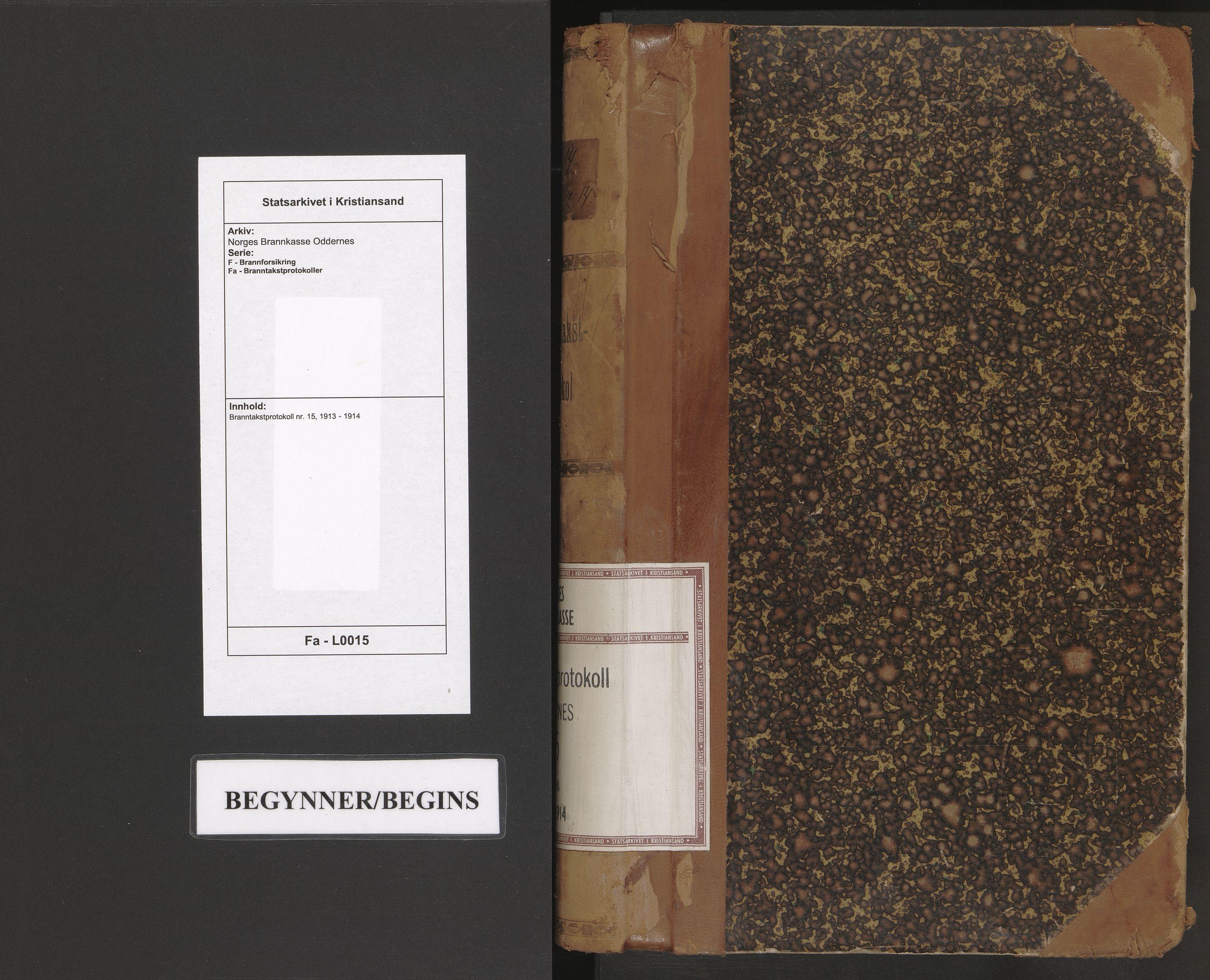 SAK, Norges Brannkasse Oddernes, F/Fa/L0015: Branntakstprotokoll nr. 15, 1913-1914