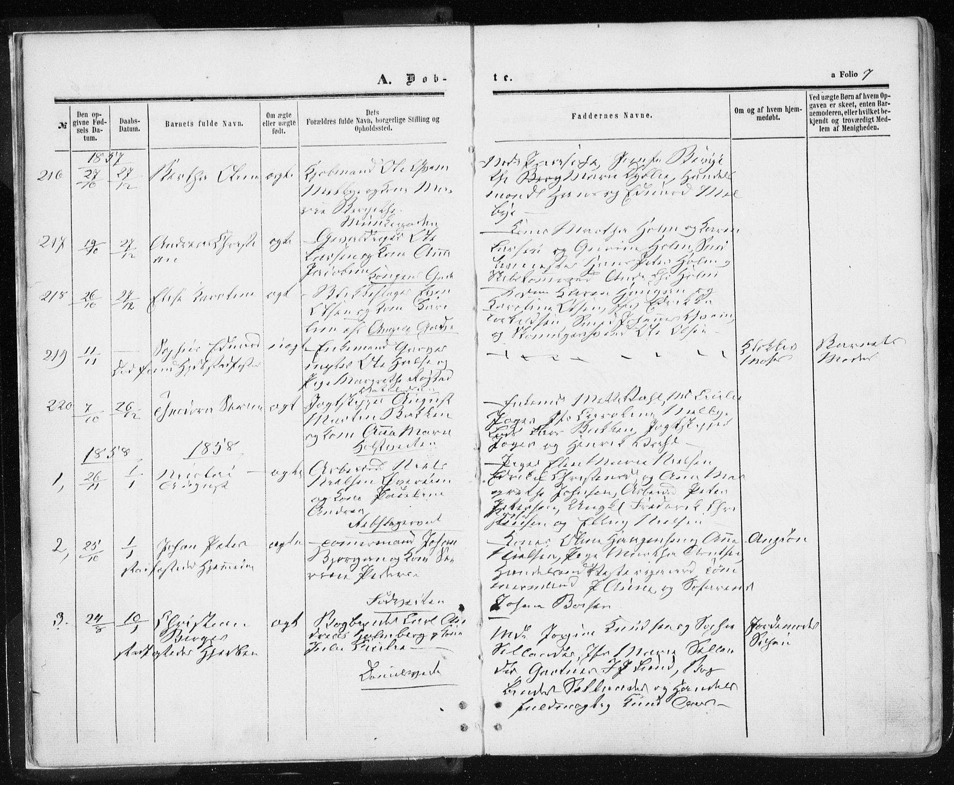 SAT, Ministerialprotokoller, klokkerbøker og fødselsregistre - Sør-Trøndelag, 601/L0053: Ministerialbok nr. 601A21, 1857-1865, s. 7
