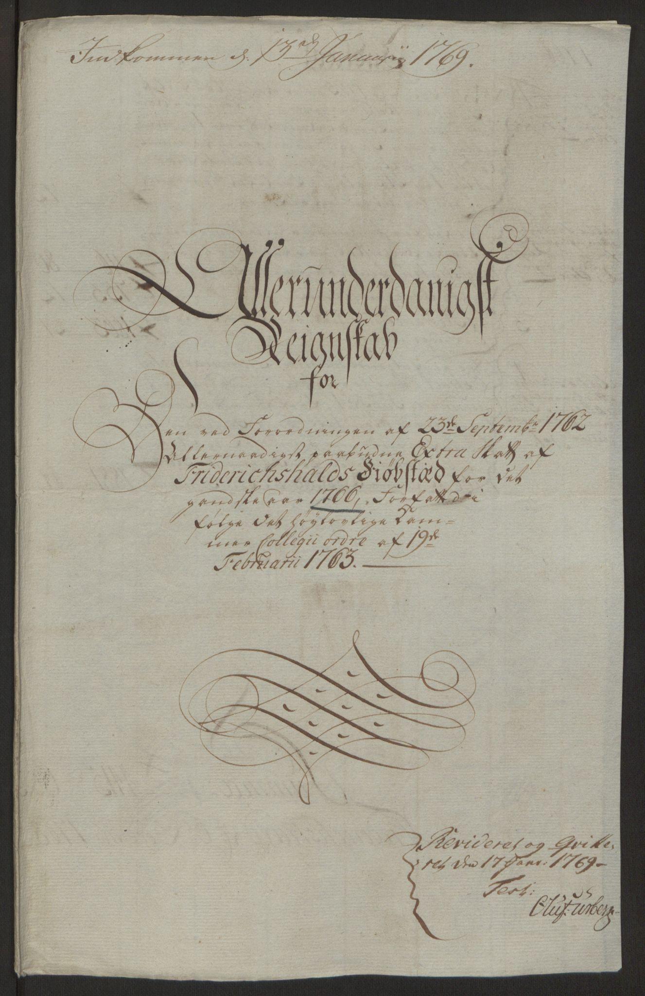 RA, Rentekammeret inntil 1814, Reviderte regnskaper, Byregnskaper, R/Ra/L0006: [A4] Kontribusjonsregnskap, 1762-1772, s. 128