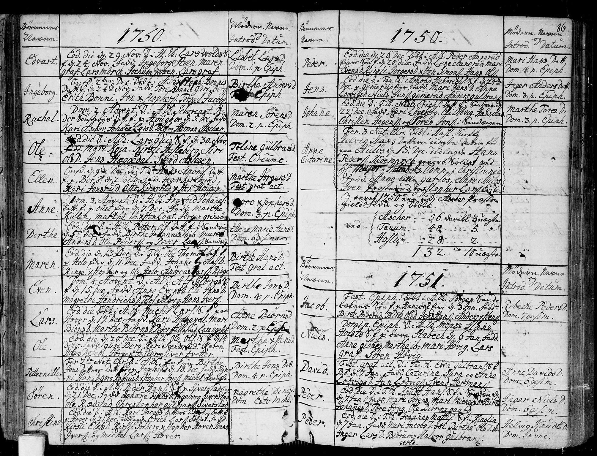 SAO, Asker prestekontor Kirkebøker, F/Fa/L0002: Ministerialbok nr. I 2, 1733-1766, s. 86
