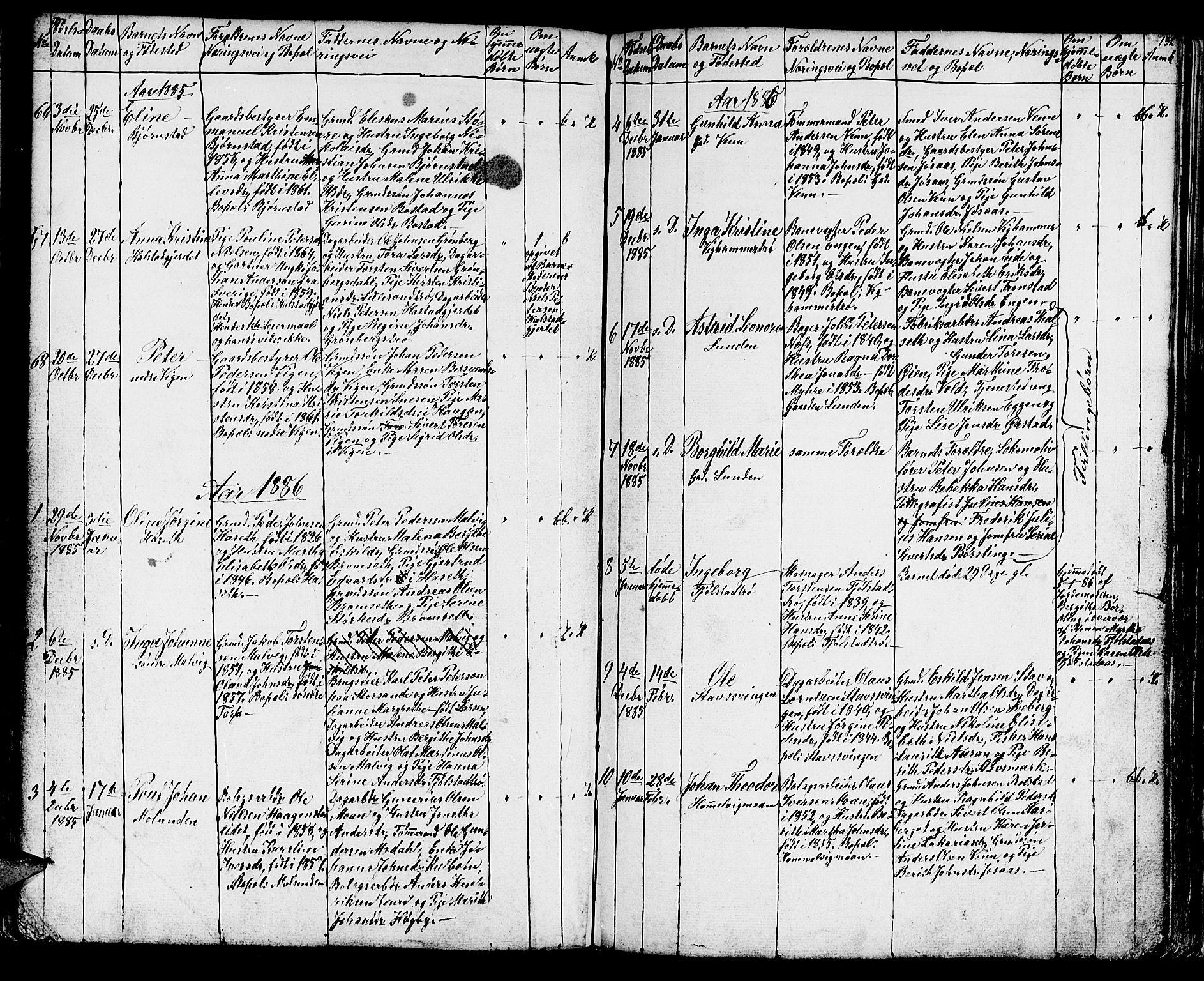 SAT, Ministerialprotokoller, klokkerbøker og fødselsregistre - Sør-Trøndelag, 616/L0422: Klokkerbok nr. 616C05, 1850-1888, s. 132