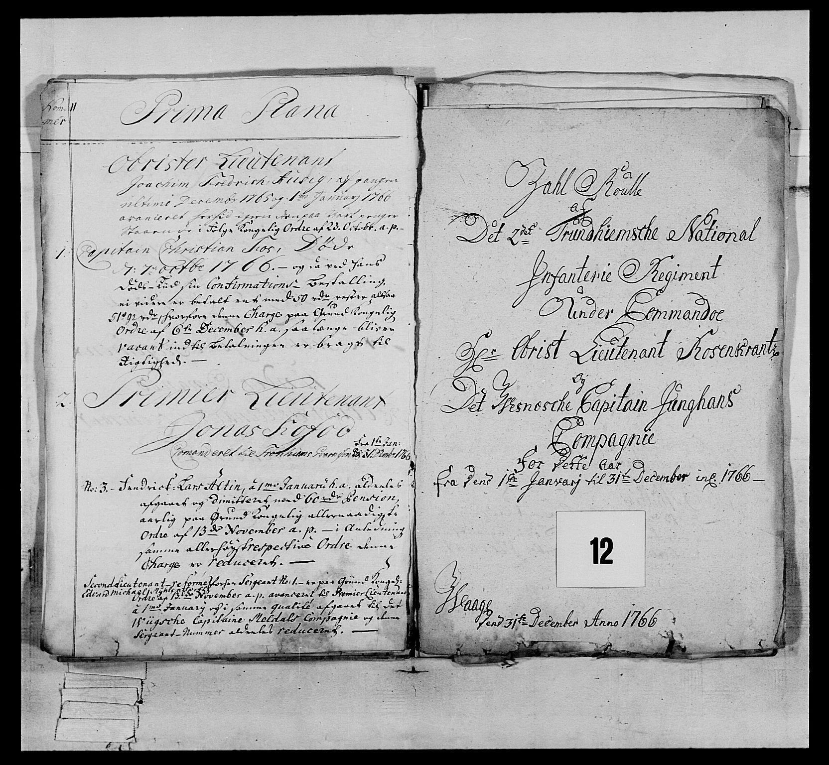 RA, Generalitets- og kommissariatskollegiet, Det kongelige norske kommissariatskollegium, E/Eh/L0076: 2. Trondheimske nasjonale infanteriregiment, 1766-1773, s. 25