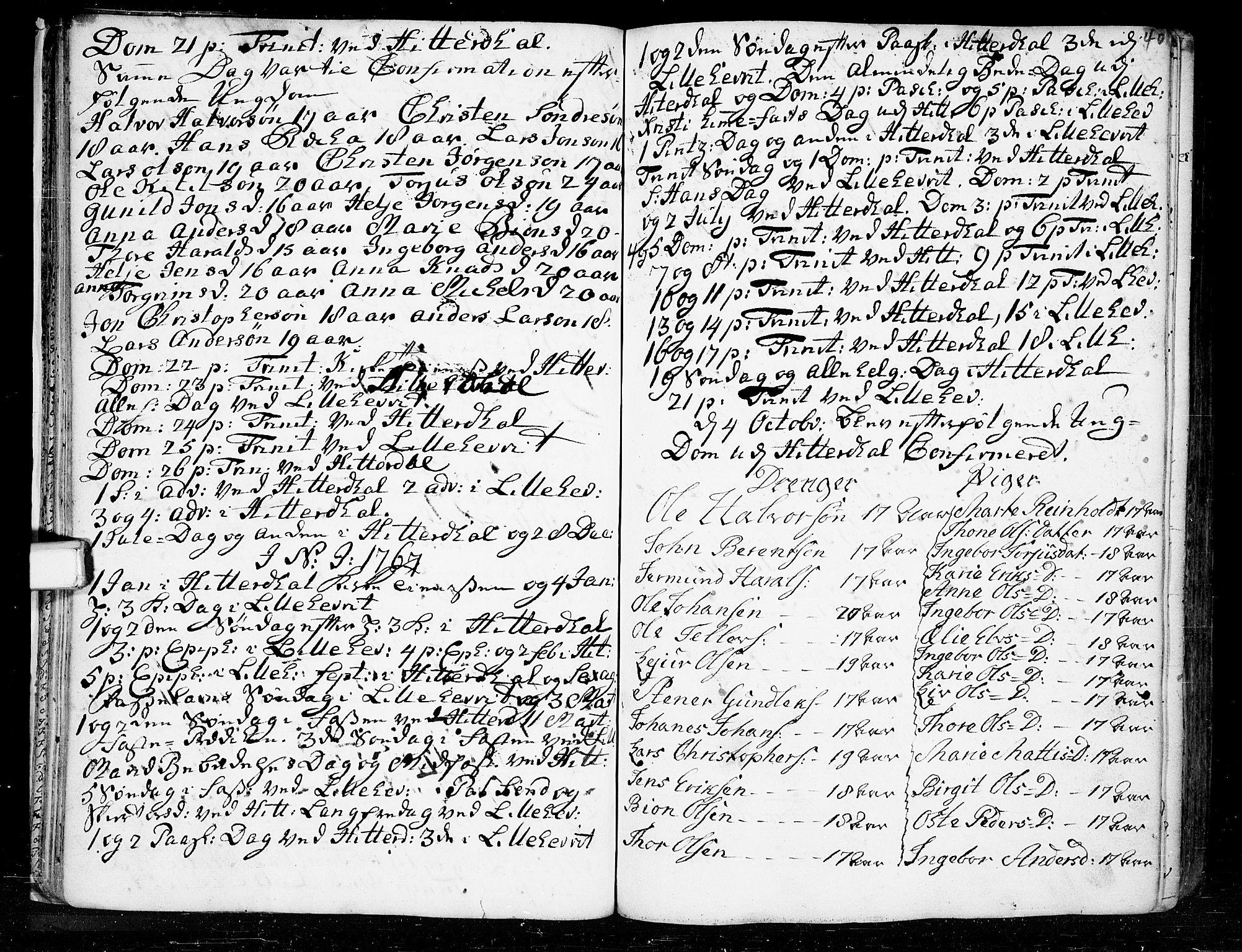 SAKO, Heddal kirkebøker, F/Fa/L0003: Ministerialbok nr. I 3, 1723-1783, s. 40