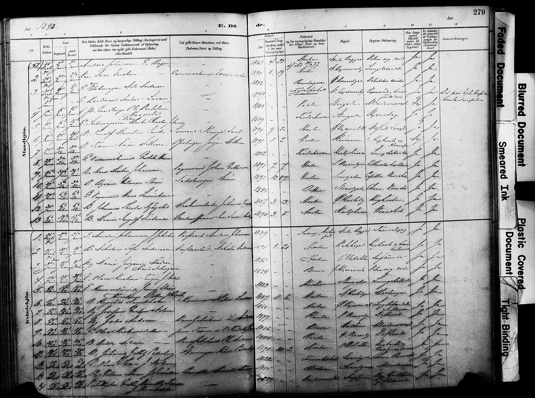 SAKO, Horten kirkebøker, F/Fa/L0004: Ministerialbok nr. 4, 1888-1895, s. 279