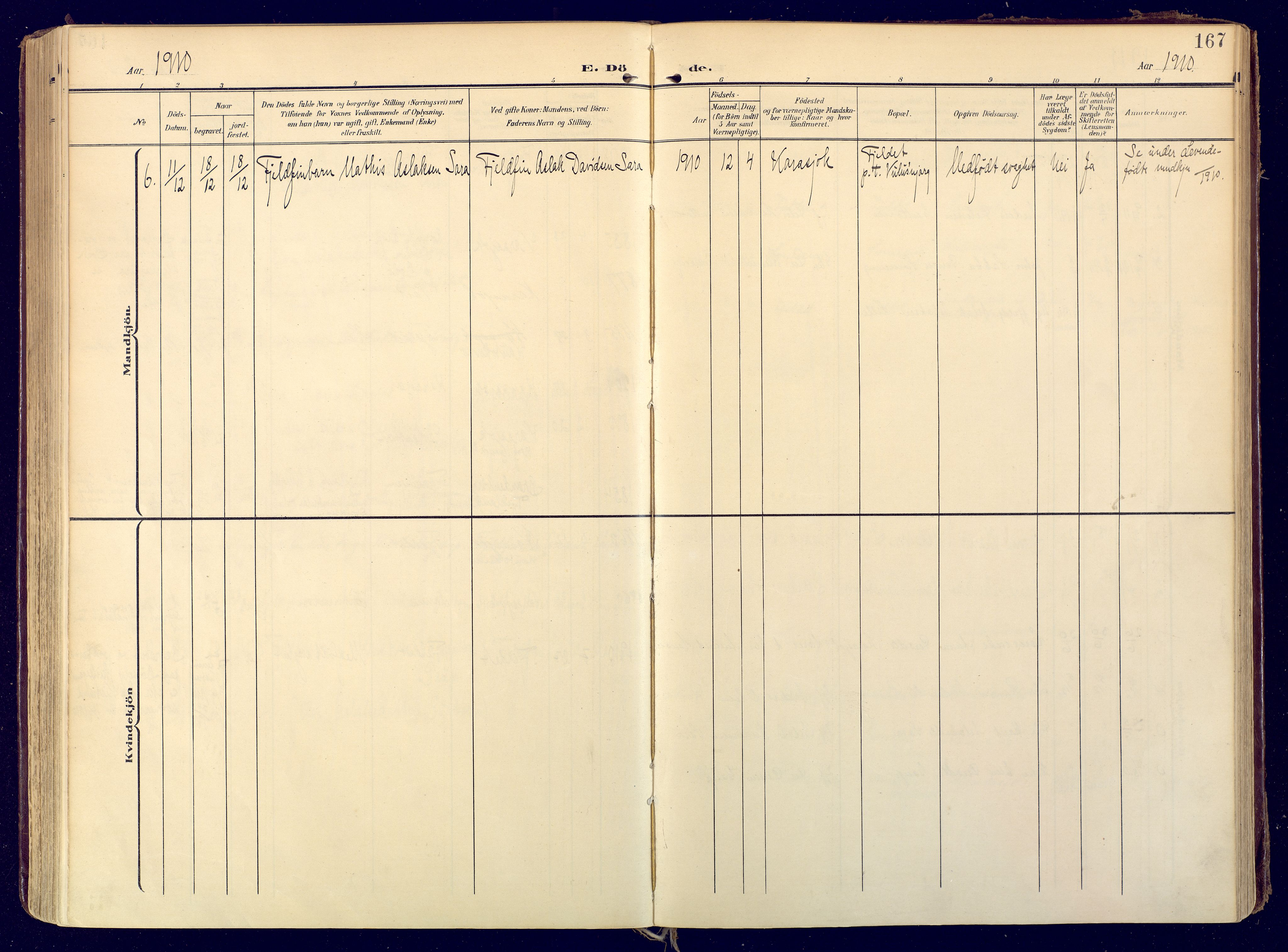 SATØ, Karasjok sokneprestkontor, H/Ha: Ministerialbok nr. 3, 1907-1926, s. 167
