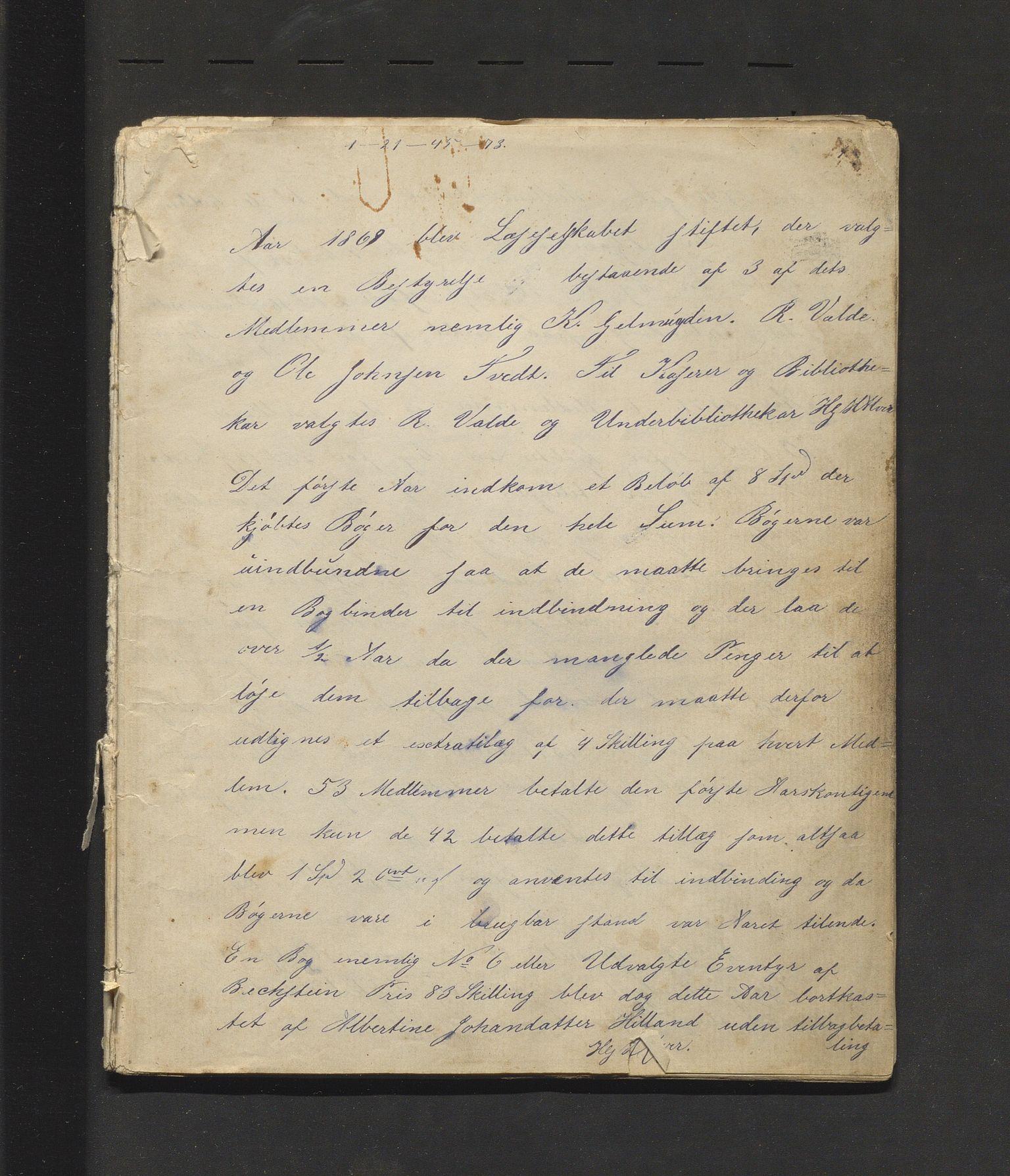 IKAH, Alversunds sogns læseselskab, A/Aa/L0001: Møtebok for Alversunds sogns læseselskab, 1869-1875