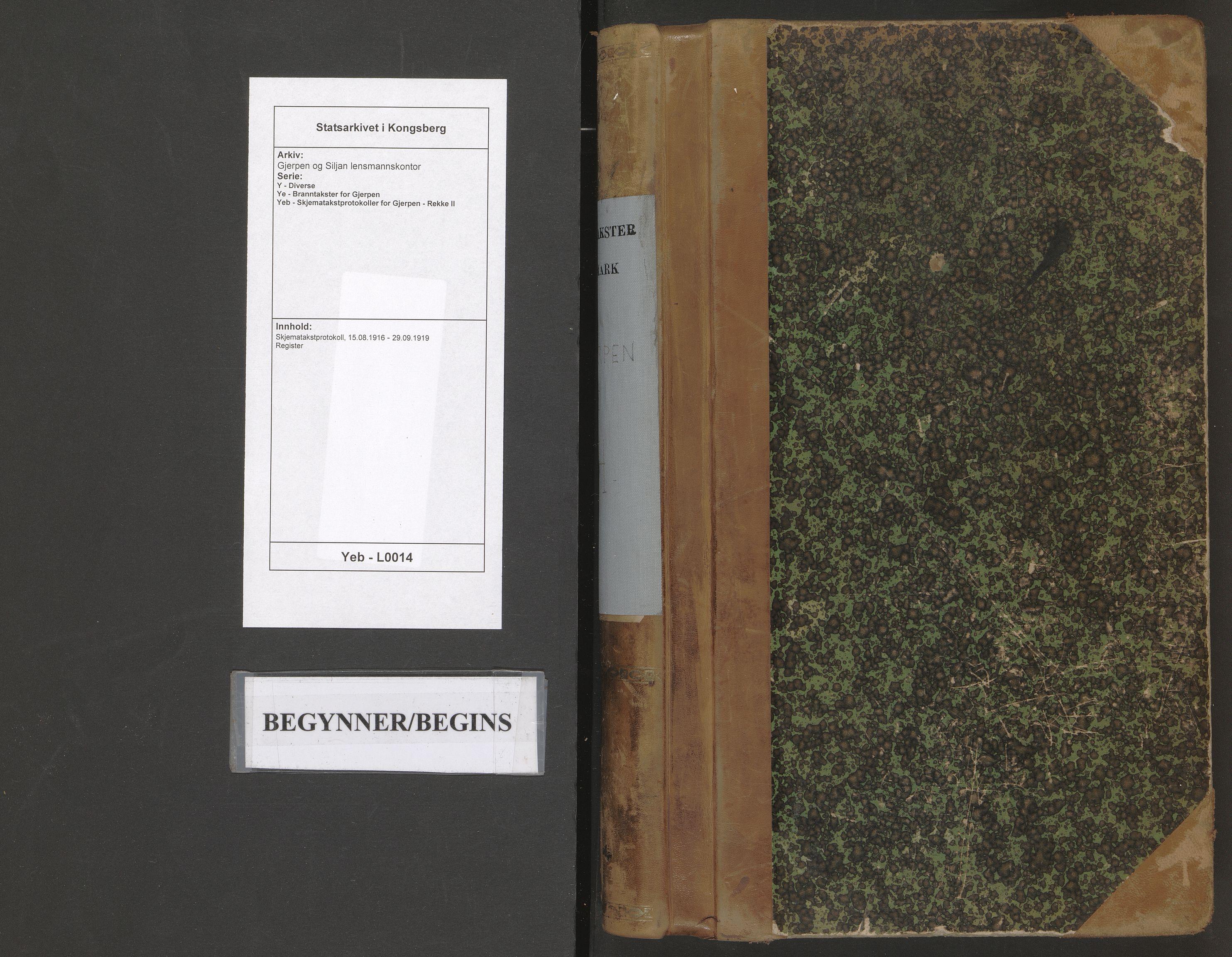 SAKO, Gjerpen og Siljan lensmannskontor, Y/Ye/Yeb/L0014: Skjematakstprotokoll, 1916-1919