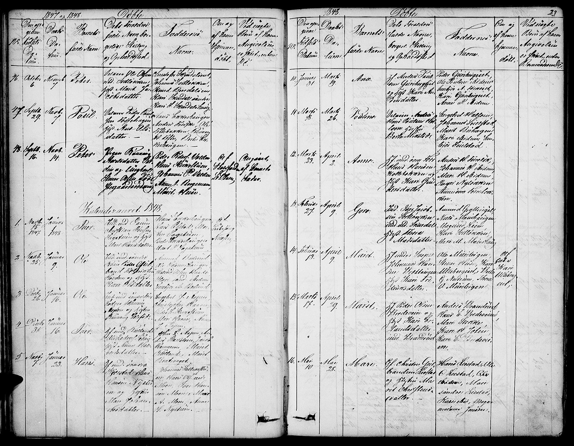 SAH, Sør-Fron prestekontor, H/Ha/Hab/L0001: Klokkerbok nr. 1, 1844-1863, s. 23