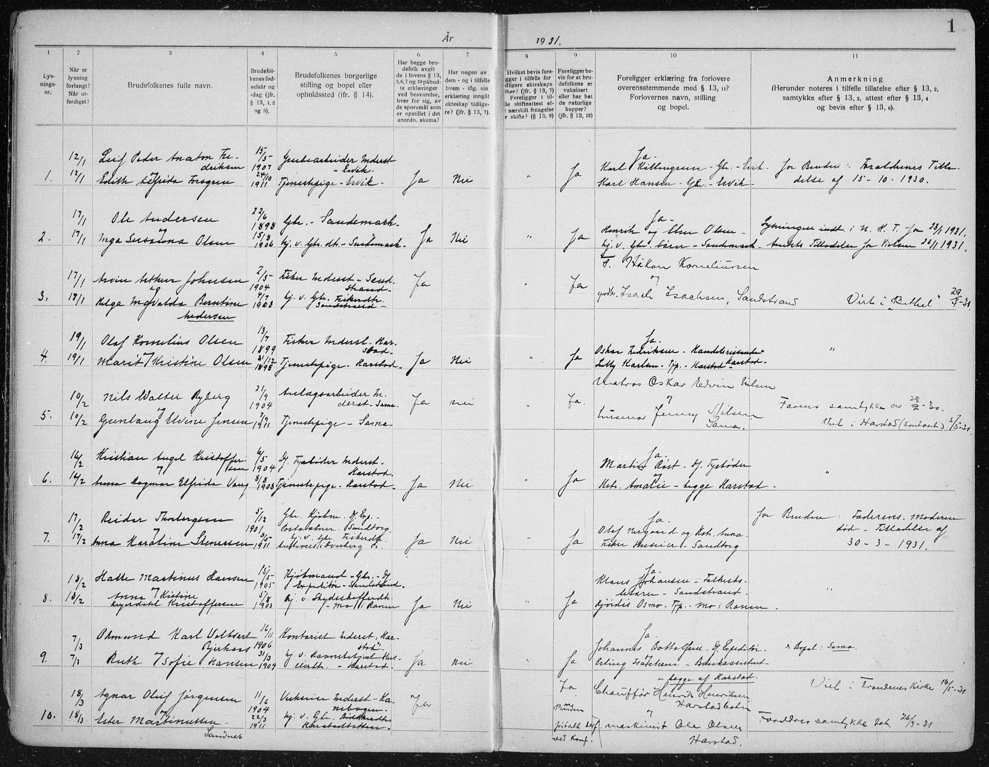 SATØ, Trondenes sokneprestkontor, I/Ib/L0100: Lysningsprotokoll nr. 100, 1931-1940, s. 1